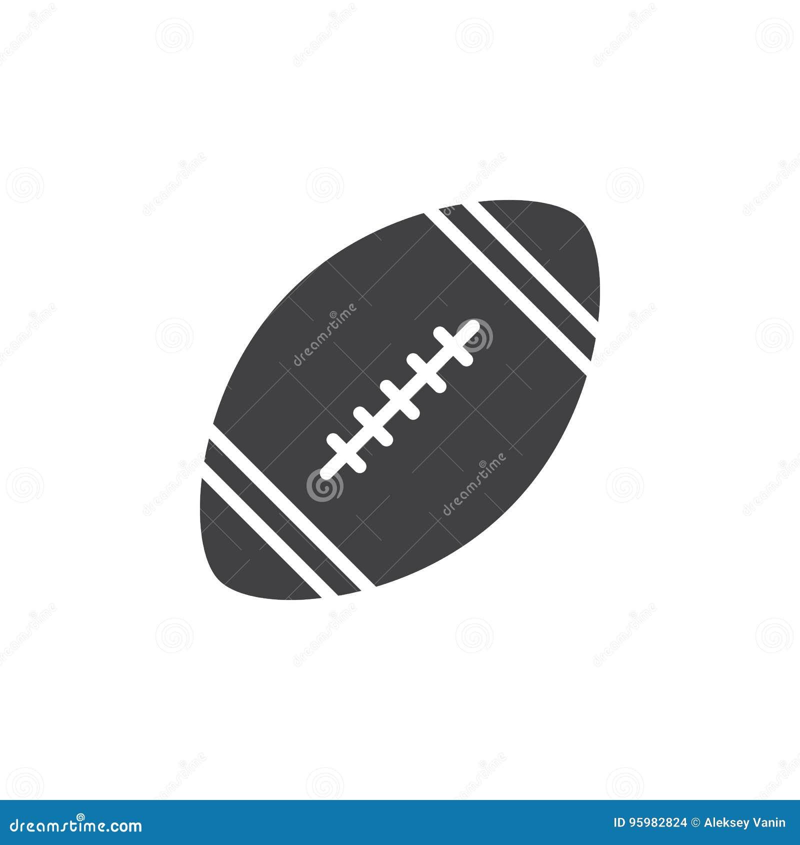 Vettore dell icona della palla di football americano, segno piano riempito, pittogramma solido isolato su bianco