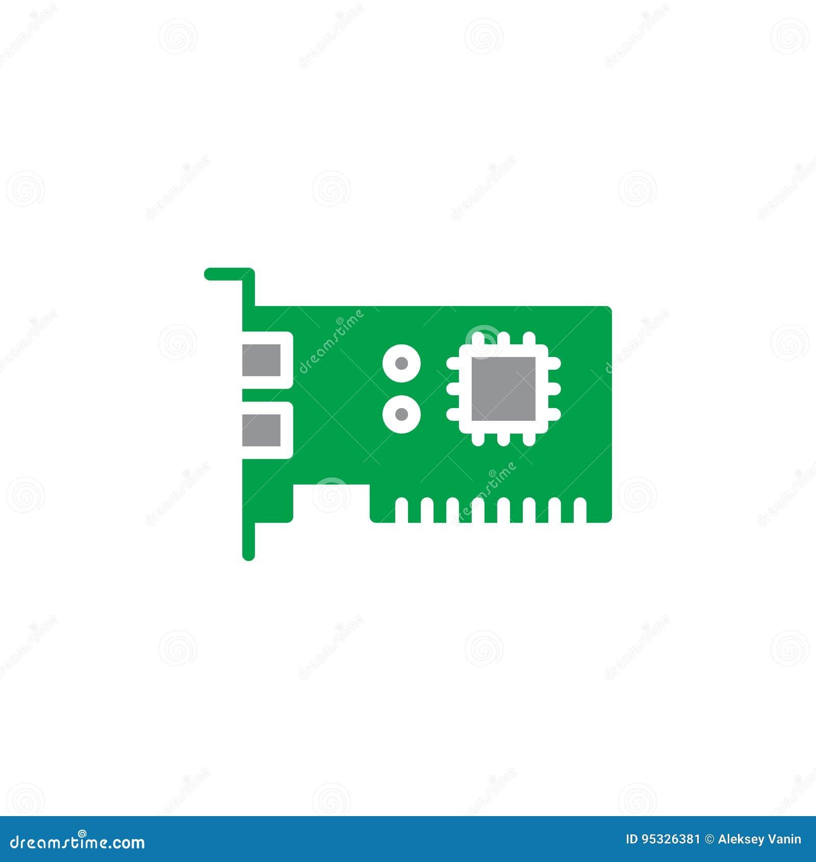 Vettore dell icona della scheda di espansione, segno piano riempito, pittogramma variopinto solido isolato su bianco