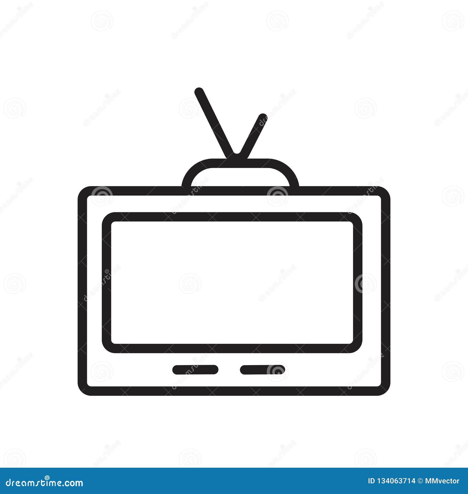 Vettore dell icona della televisione isolato su fondo bianco, sul segno della televisione, sul simbolo lineare e sugli elementi d