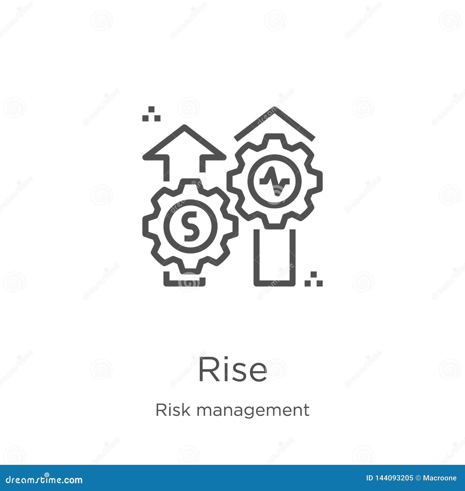 Vettore dell icona di aumento dalla raccolta della gestione dei rischi Linea sottile illustrazione di vettore dell icona del prof