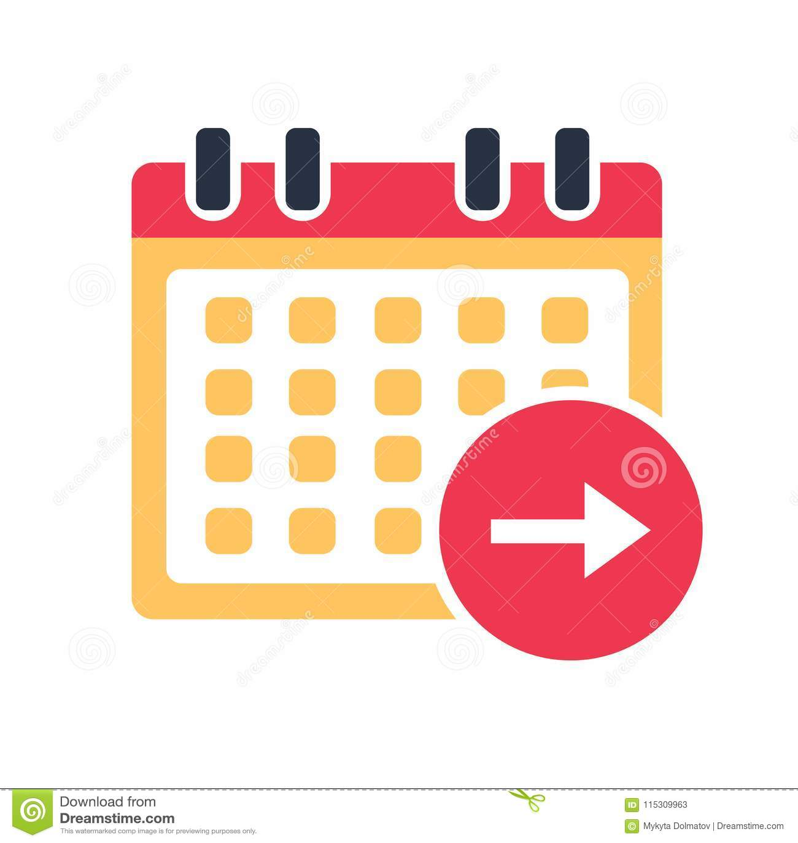 Simbolo De Calendario.Vettore Dell Icona Di Giorno Successivo Del Calendario