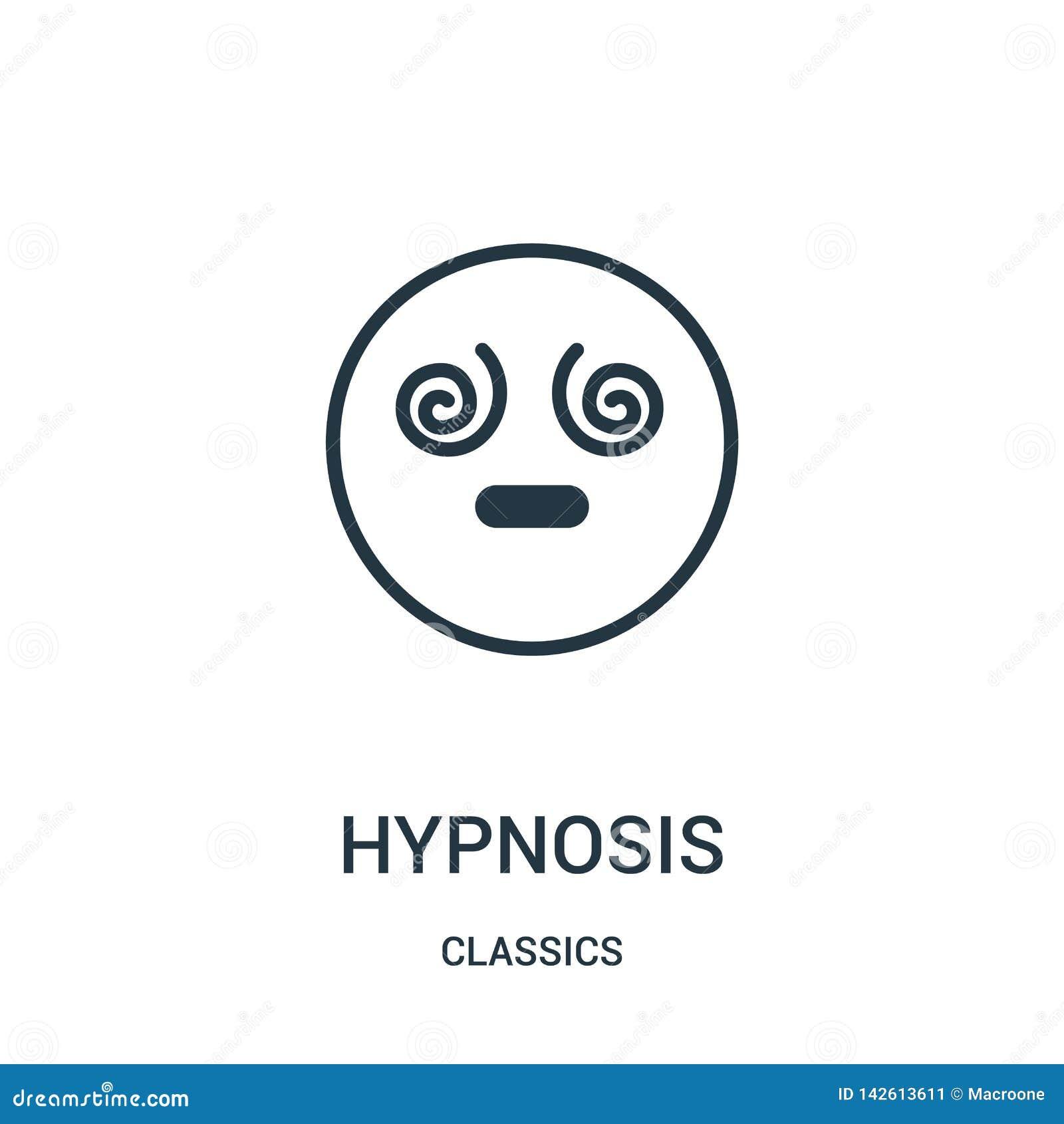 Vettore dell icona di ipnosi dalla raccolta dei classici Linea sottile illustrazione di vettore dell icona del profilo di ipnosi