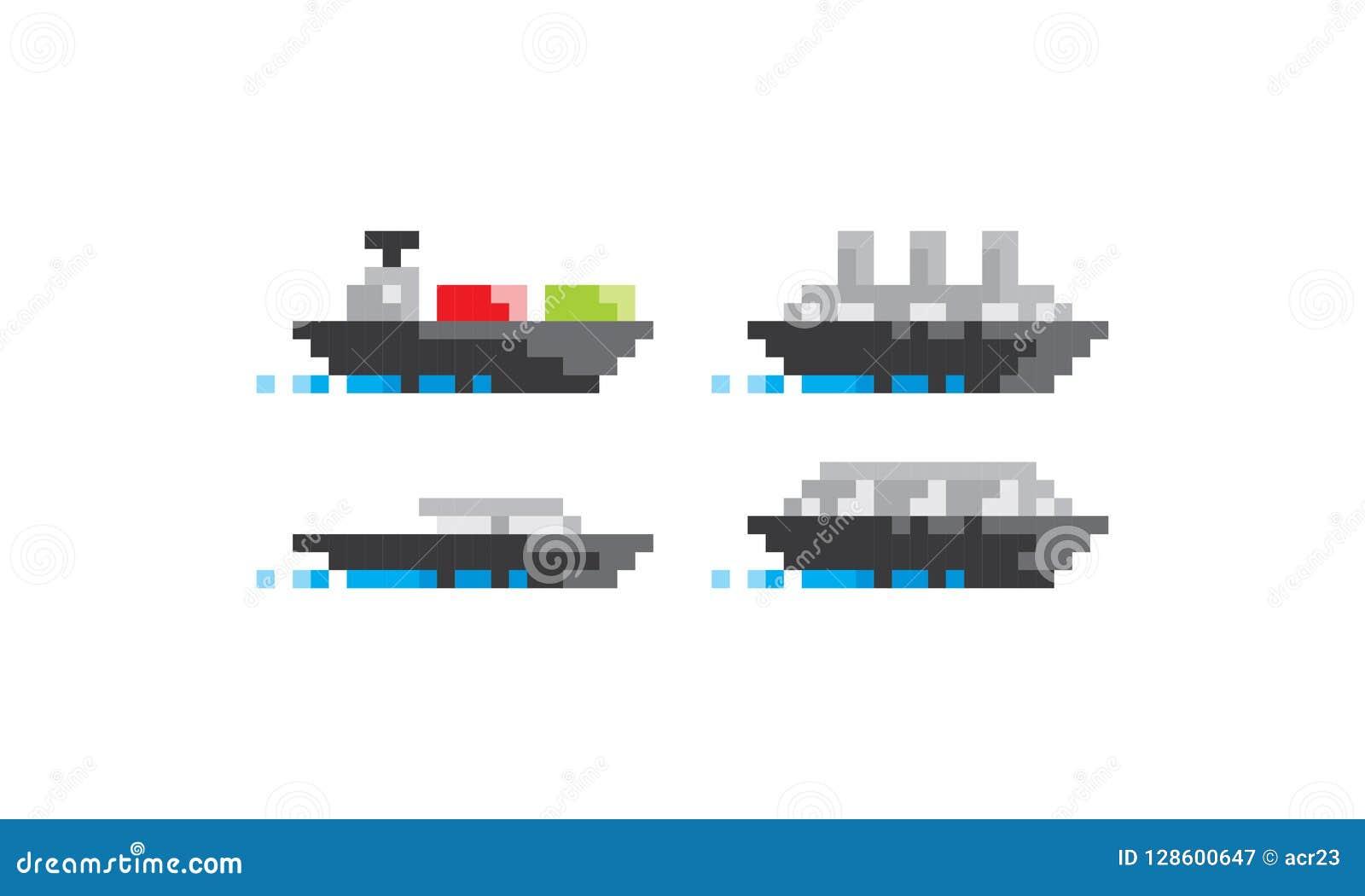 Vettore dell icona di logo della nave di arte del pixel