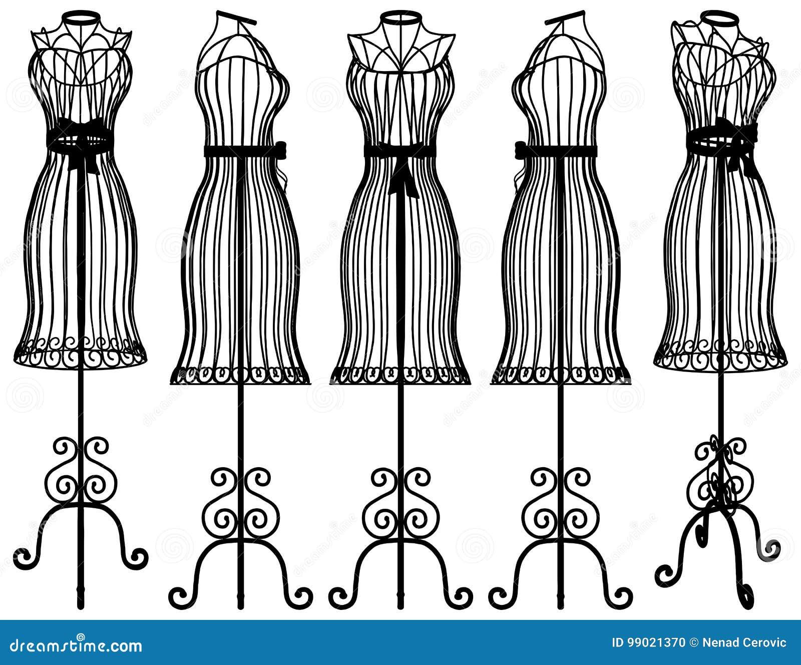 Vettore Dellillustrazione Della Gruccia Per Vestiti Del Manichino