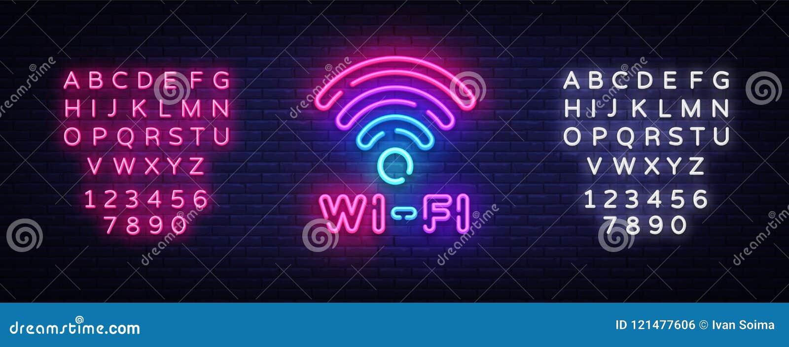 Vettore dell insegna al neon di Wifi Lettere d ardore che splendono, insegna leggera, testo al neon del neon di simbolo di Wifi I