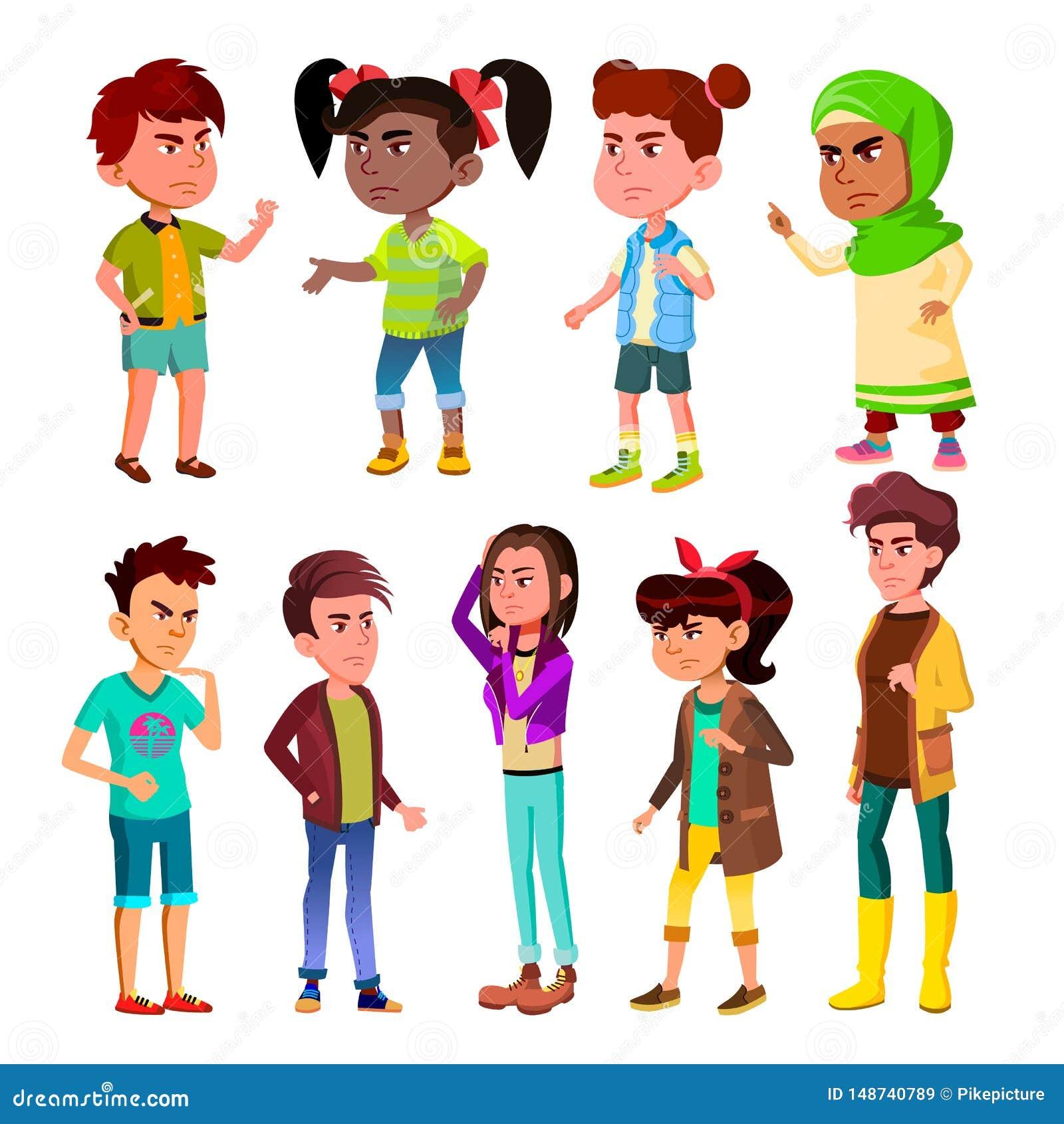 Vettore dell insieme dello scoppio dei bambini e dell adolescente del carattere