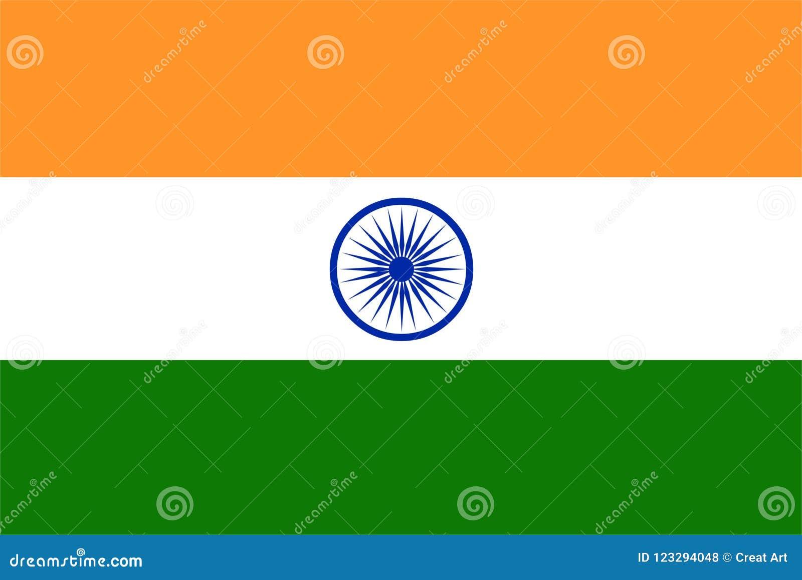 Vettore della bandiera dell India Illustrazione della bandiera dell India