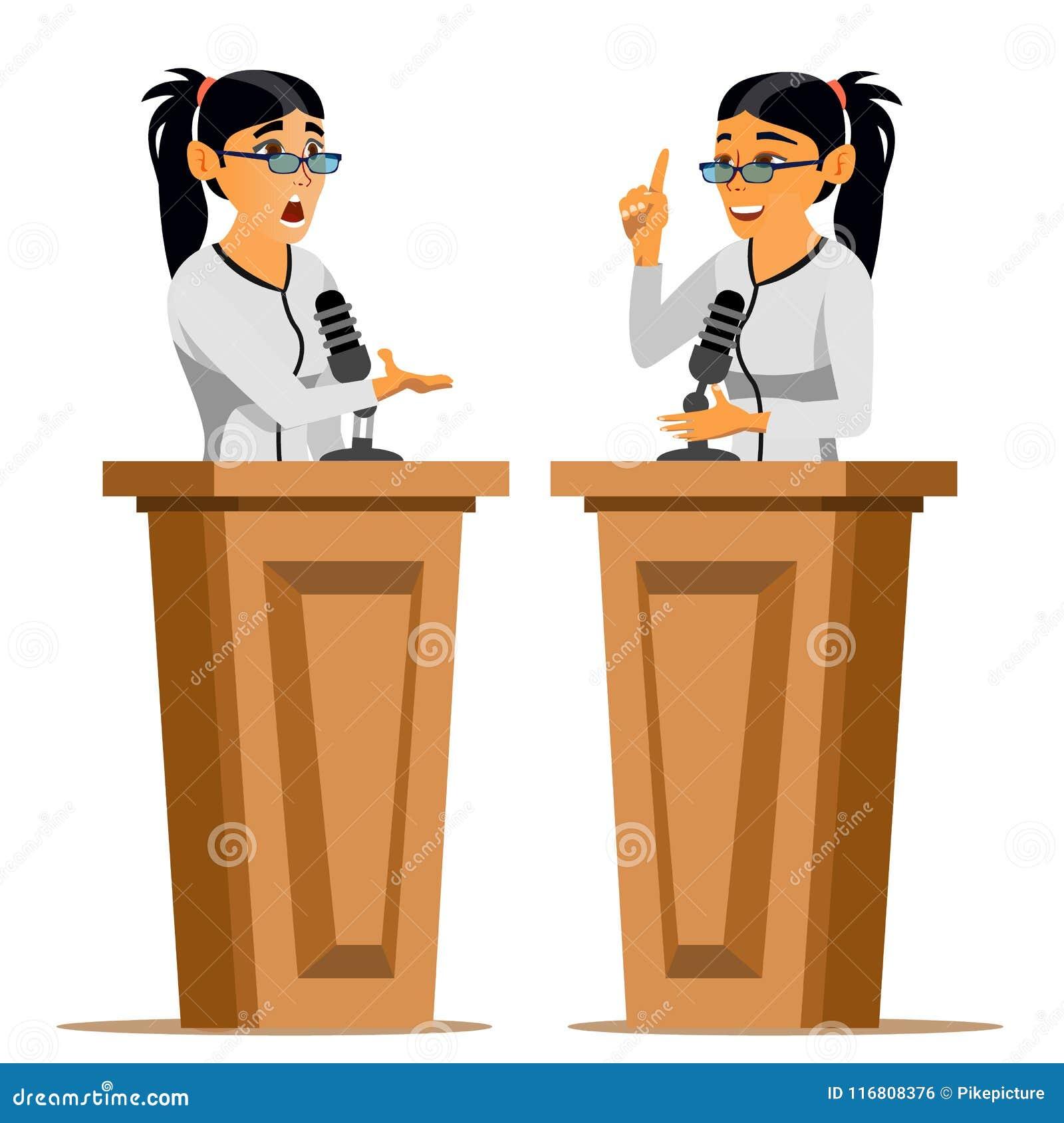 Vettore della donna dell altoparlante Donna di affari, Politico Giving Speech rostrum candidato Personaggio dei cartoni animati p