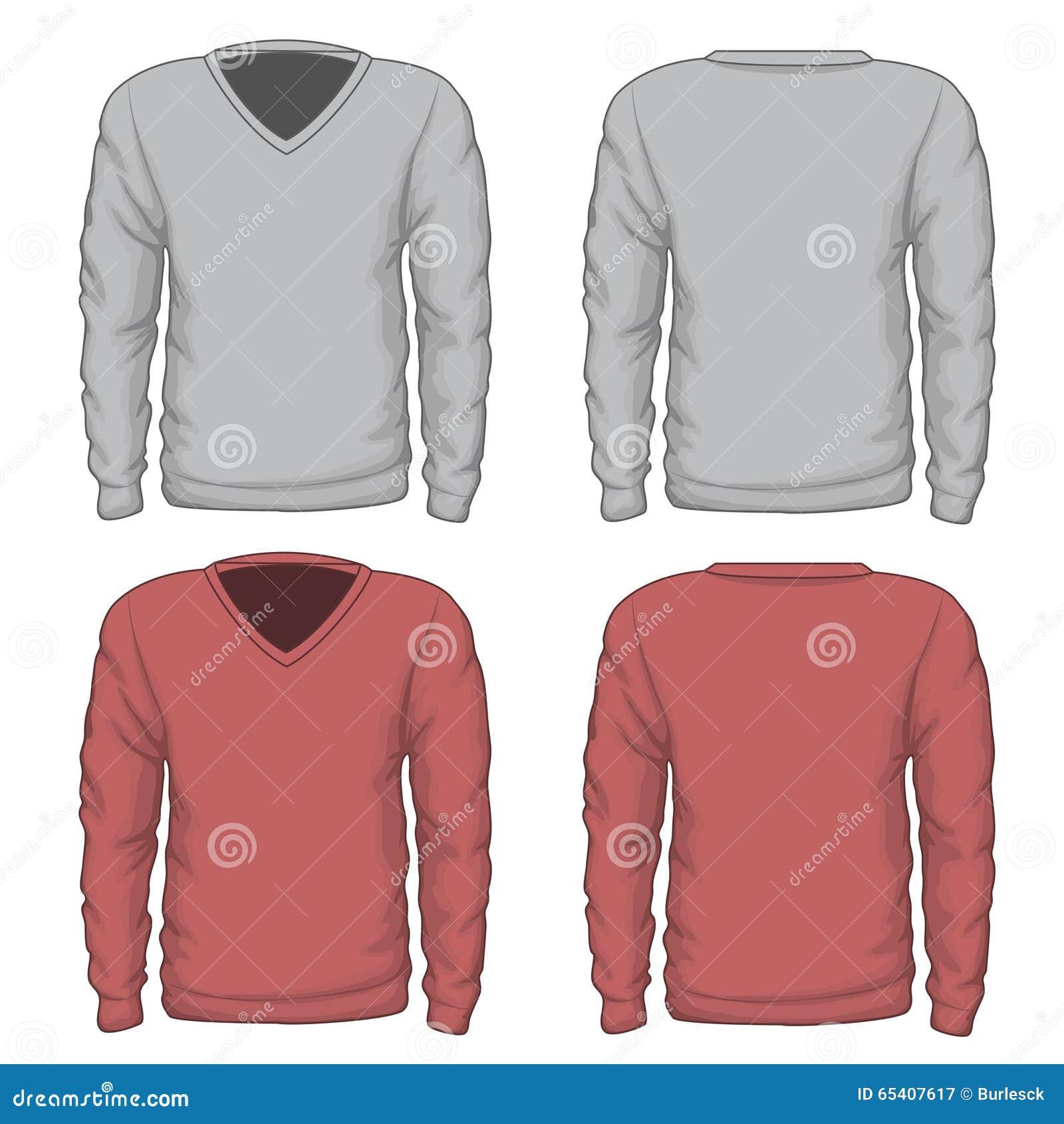 Vettore della maglietta felpata del v-collo degli uomini casuali