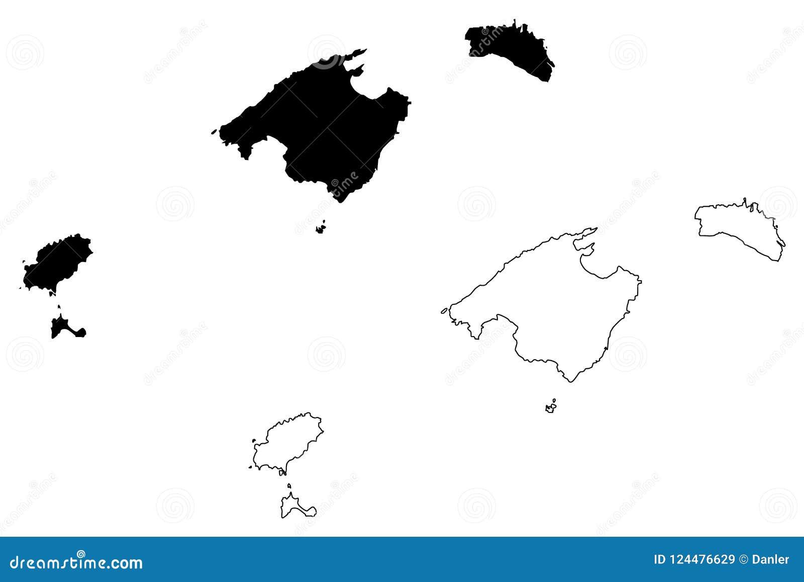 Cartina Geografica Spagna E Formentera.Vettore Della Mappa Delle Isole Baleari Illustrazione Vettoriale Illustrazione Di Autonomia Continente 124476629