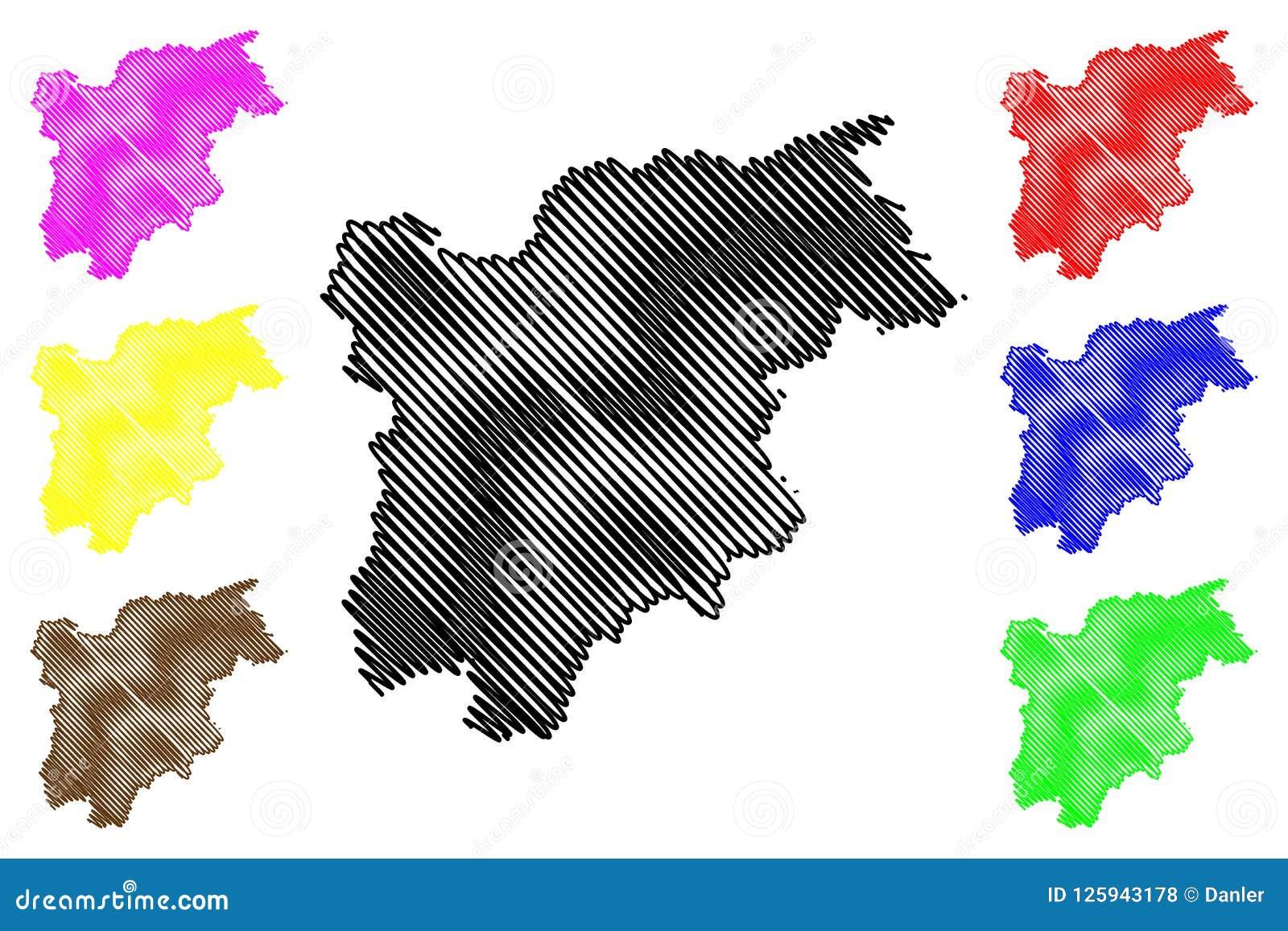 Cartina Italia Trentino Alto Adige.Vettore Della Mappa Di Sudtirol Di Trentino Alto Adige Illustrazione Vettoriale Illustrazione Di Italia Paese 125943178