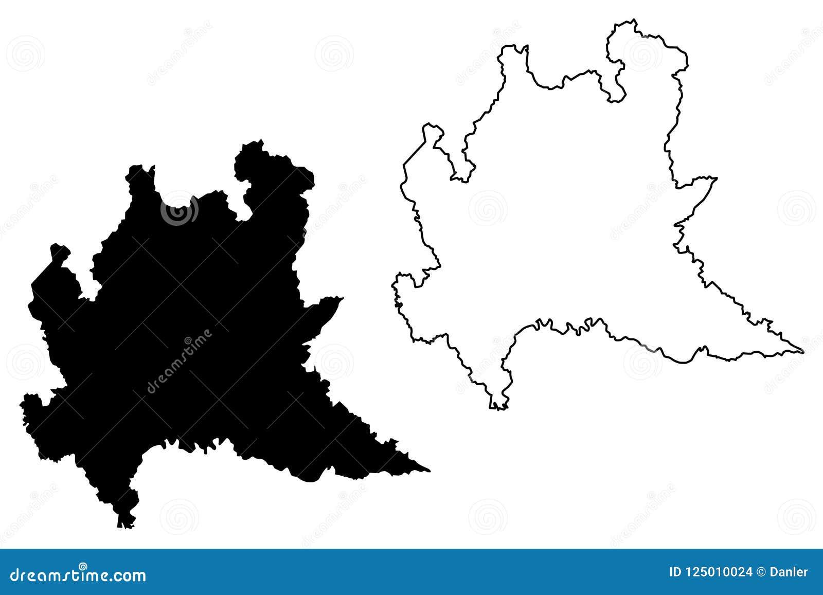 Regione Lombardia Cartina Politica.Vettore Della Mappa Della Lombardia Illustrazione Vettoriale Illustrazione Di Naturalizzato Disegno 125010024