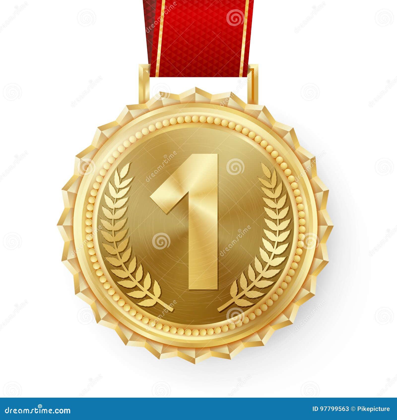 Vettore della medaglia d oro Primo distintivo dorato del posto Premio dorato di sfida del gioco di sport Nastro rosso Olive Branc