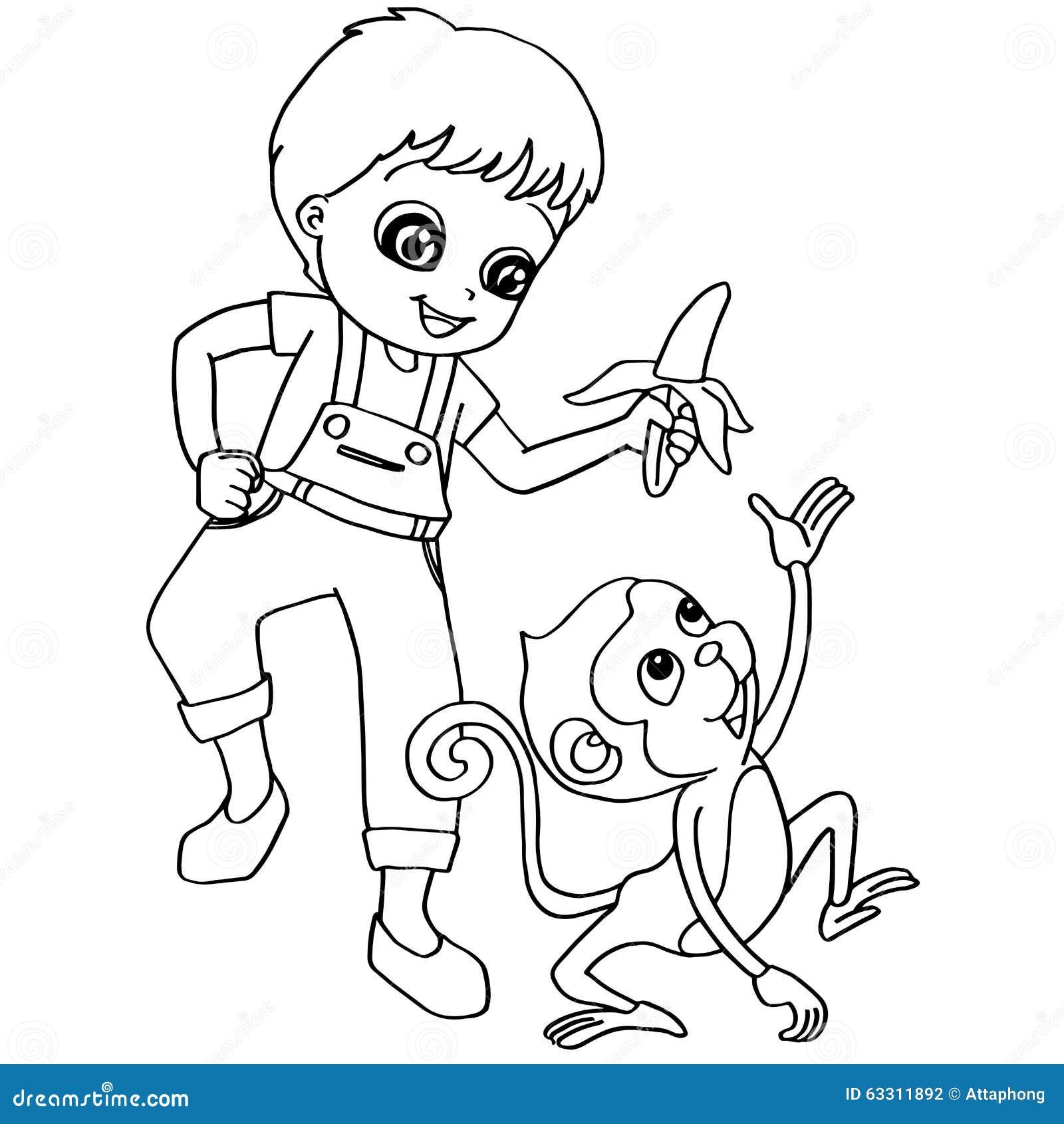 Vettore della scimmia di alimentazione dei bambini del - Scimmia faccia da colorare pagine da colorare ...