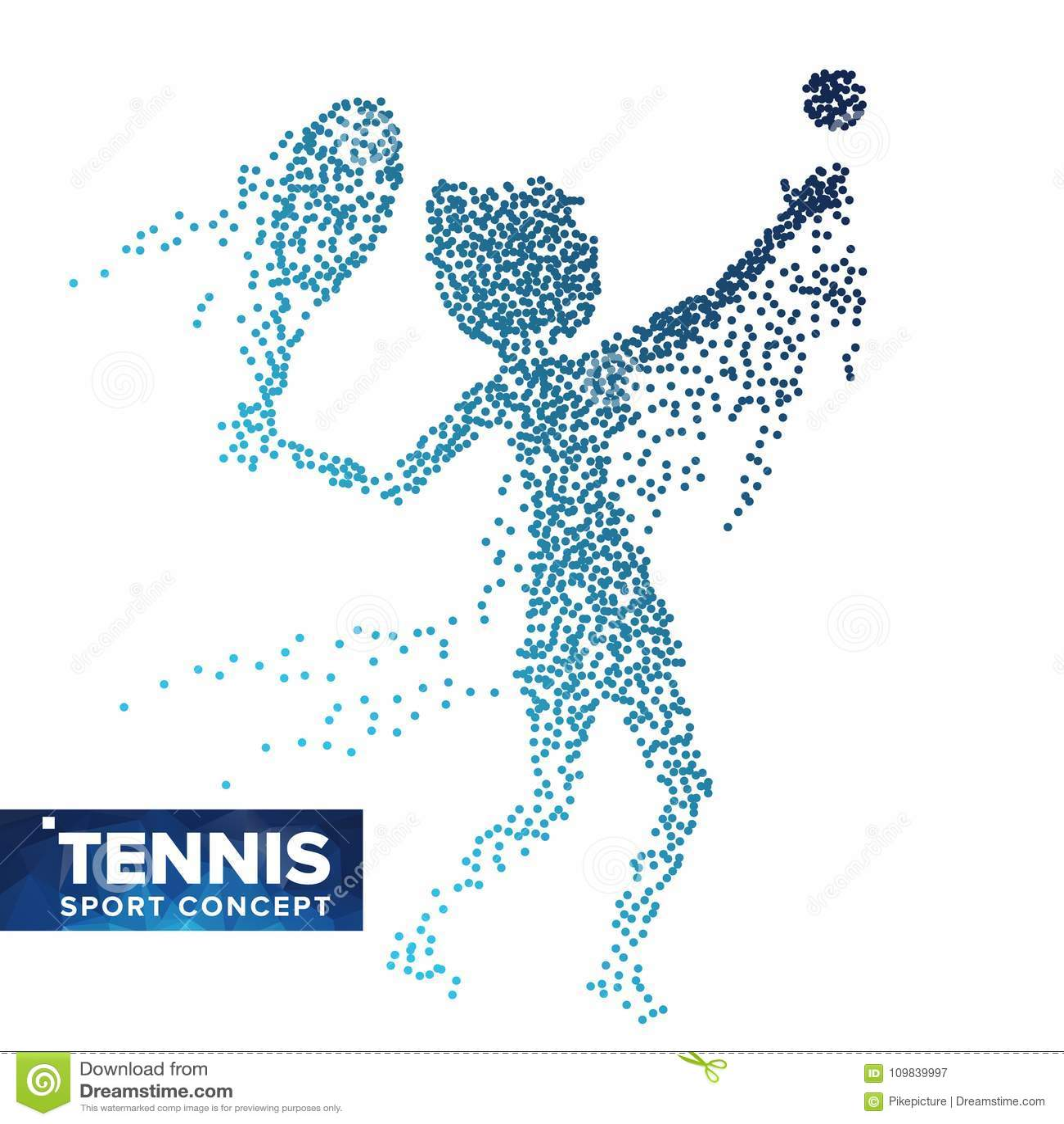 Vettore della siluetta del tennis Punti di semitono Atleta dinamico In Action di tennis Particelle punteggiate volanti Insegna di