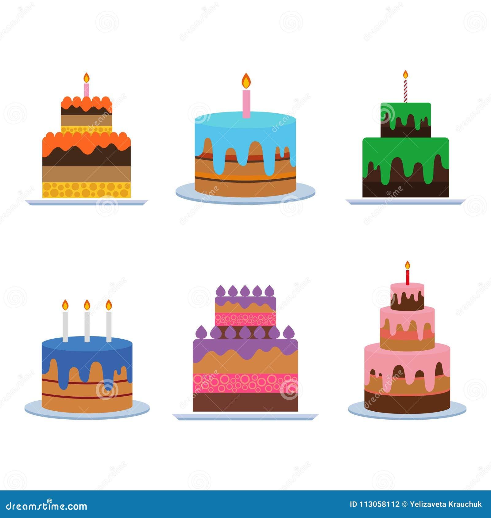 Vettore della torta di compleanno illustrazioni - Colorazione pagina della torta di compleanno ...