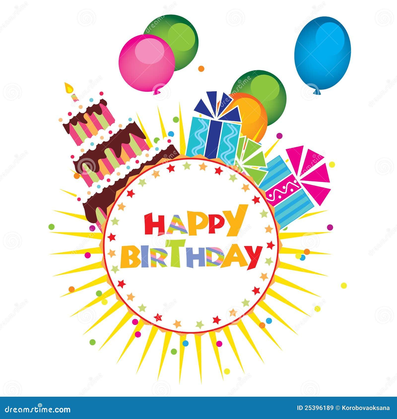 Vettore della torta di compleanno regali illustrazione - Colorazione pagina della torta di compleanno ...