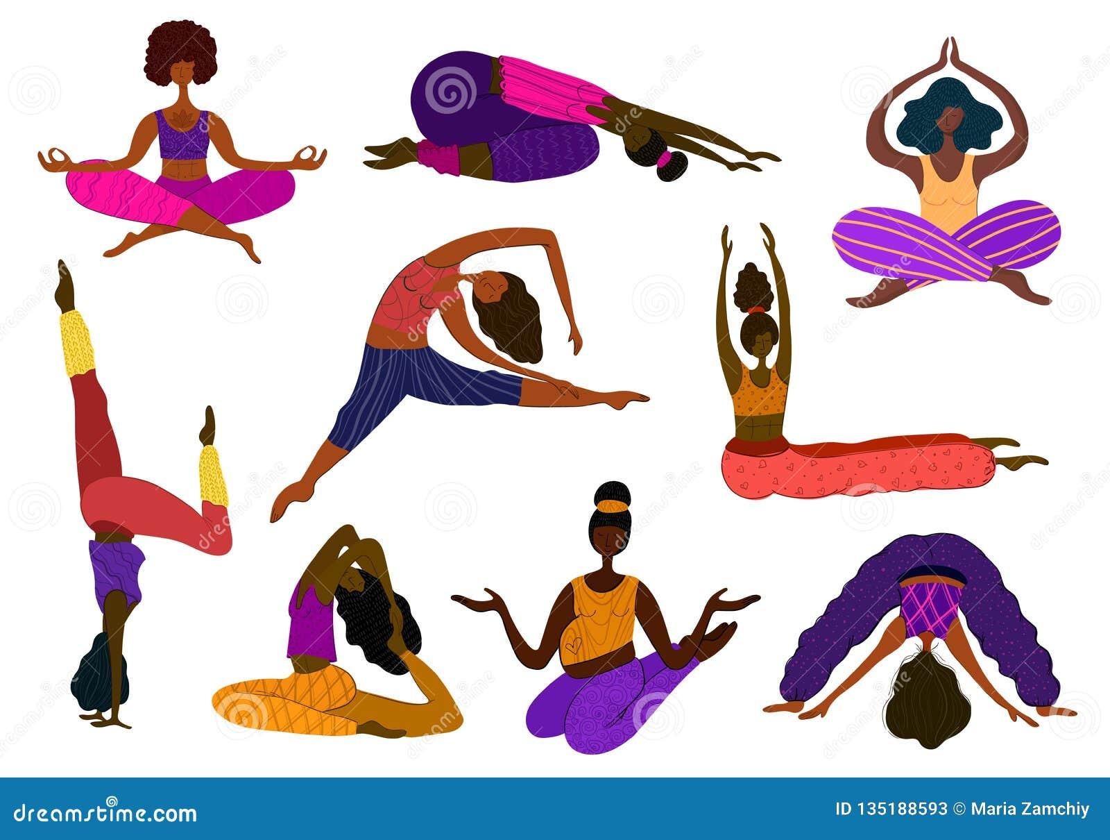 Vettore delle ragazze di yoga