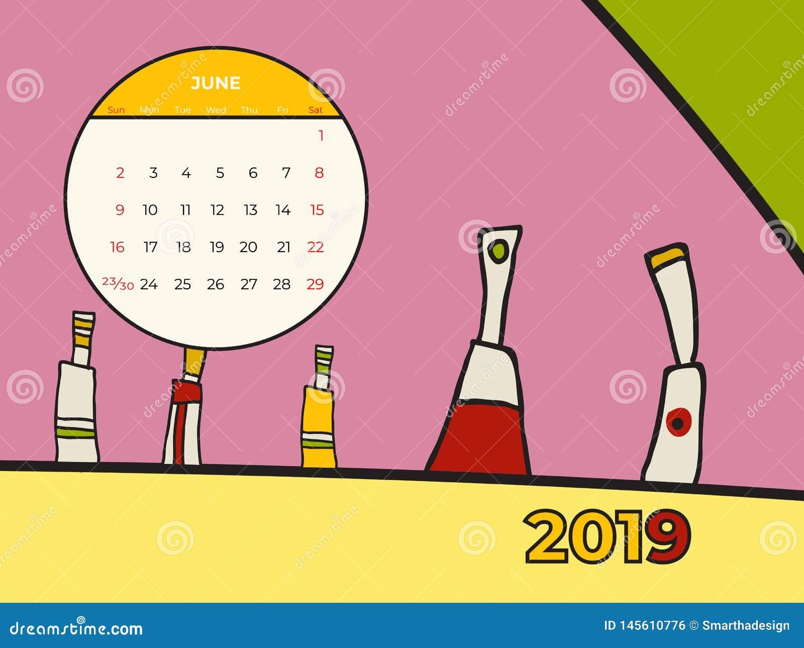 2019 vettore di arte contemporanea dell estratto del calendario di giugno Scrittorio, schermo, mese da tavolino 06,2019, un model