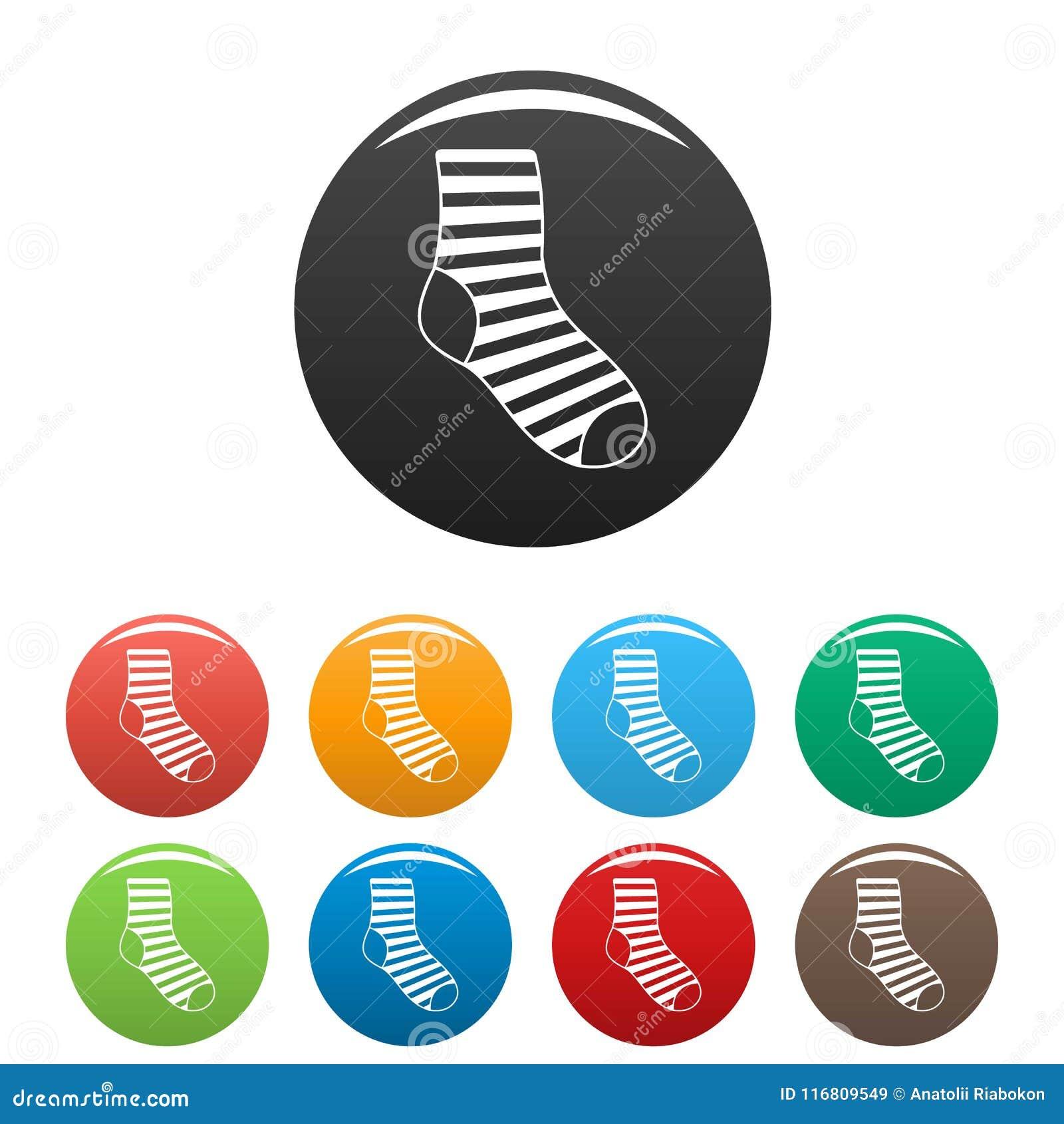 Vettore di colore fissato icone del calzino della donna