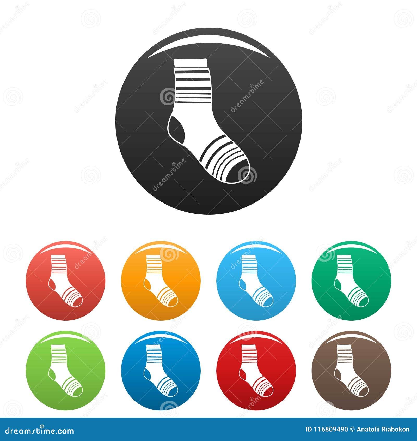 Vettore di colore fissato icone del calzino del ragazzo