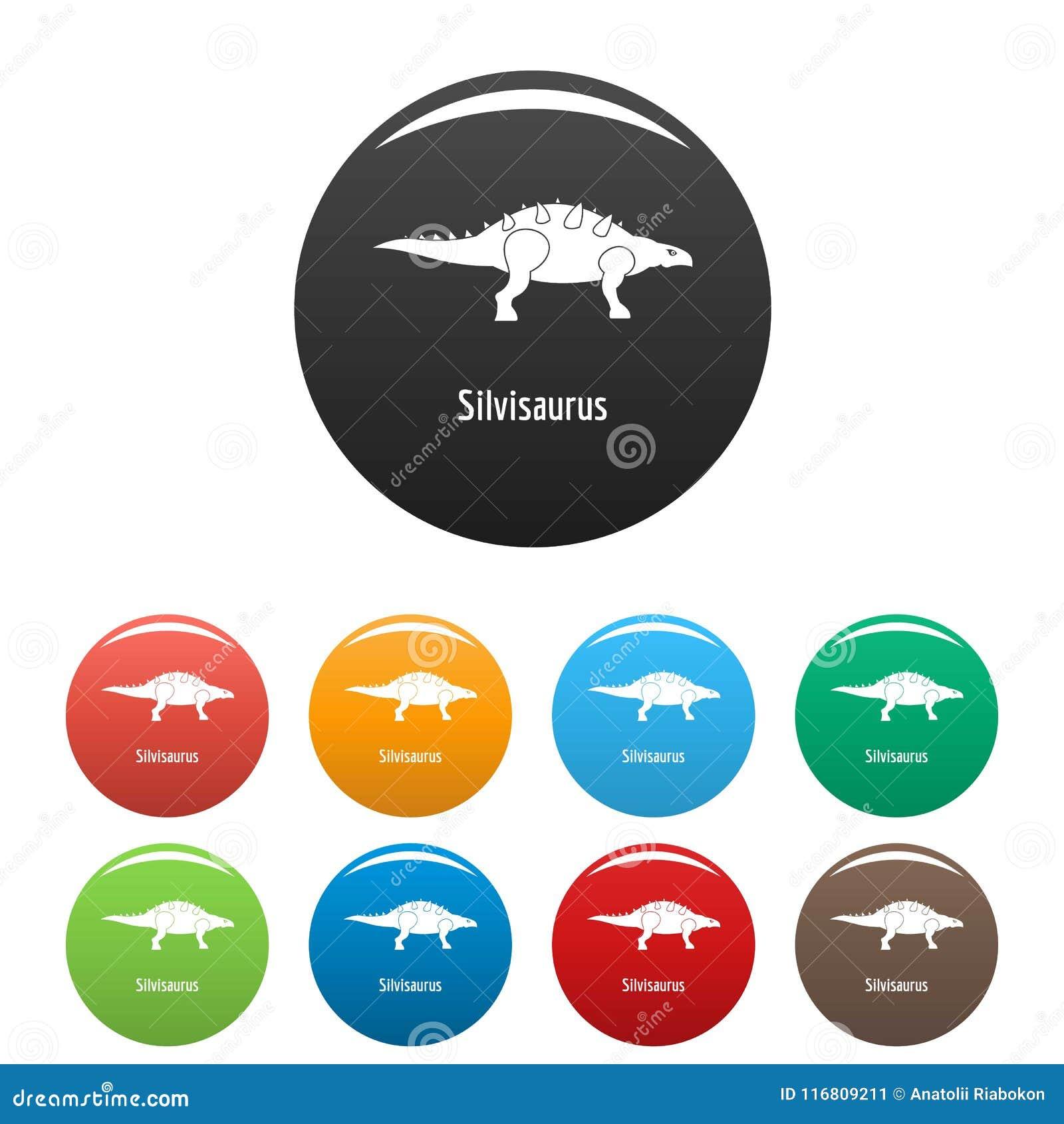 Vettore di colore fissato icone del Silvisaurus