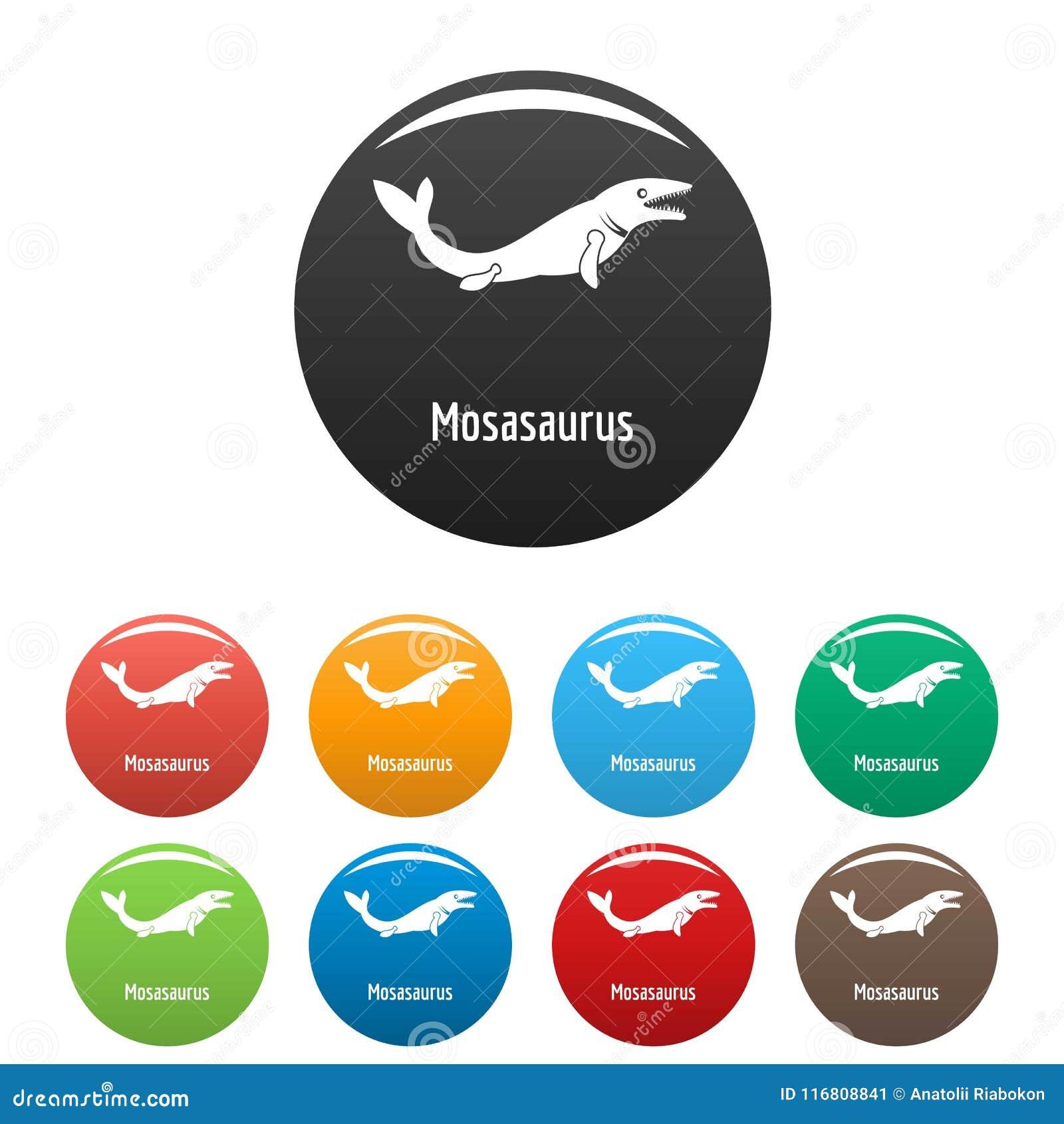 Vettore di colore fissato icone di Mosasaurus