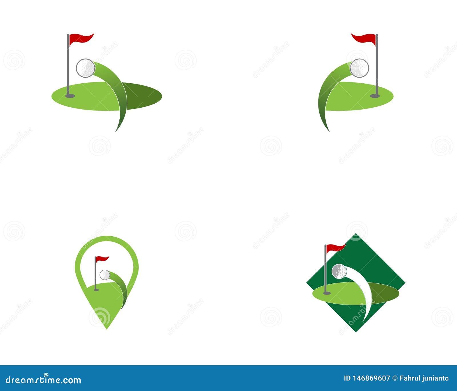 Vettore di logo dell icona del campo di golf