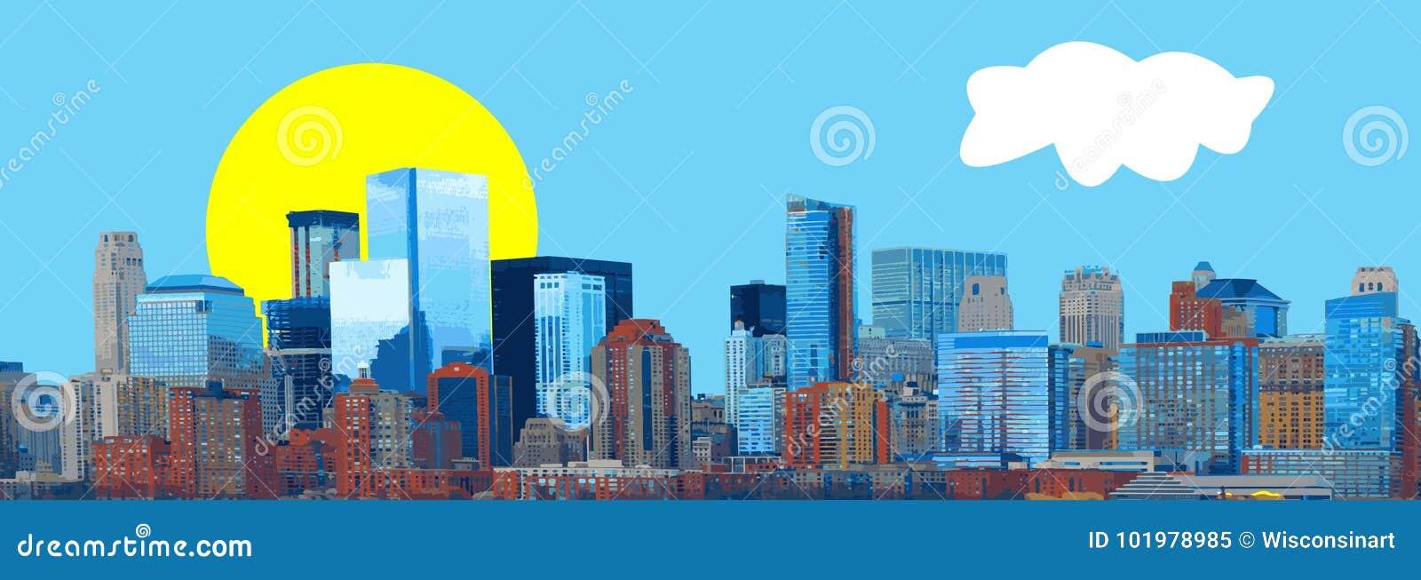 Vettore di panorama dell insegna dell orizzonte della città