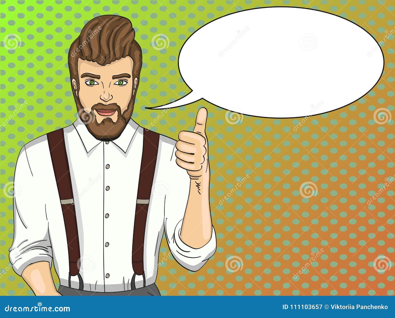 Schiocco Art Vector Illustration L uomo alla moda mostra la classe  Pubblicità del salone di bellezza 79446fb582e