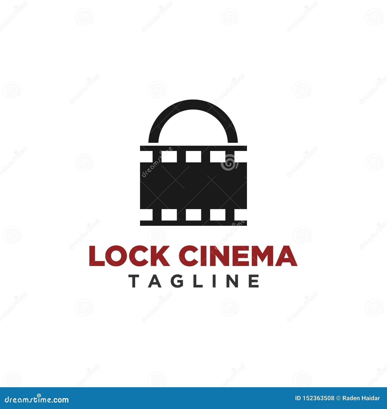 Vettore di progettazione di logo del cinema della serratura