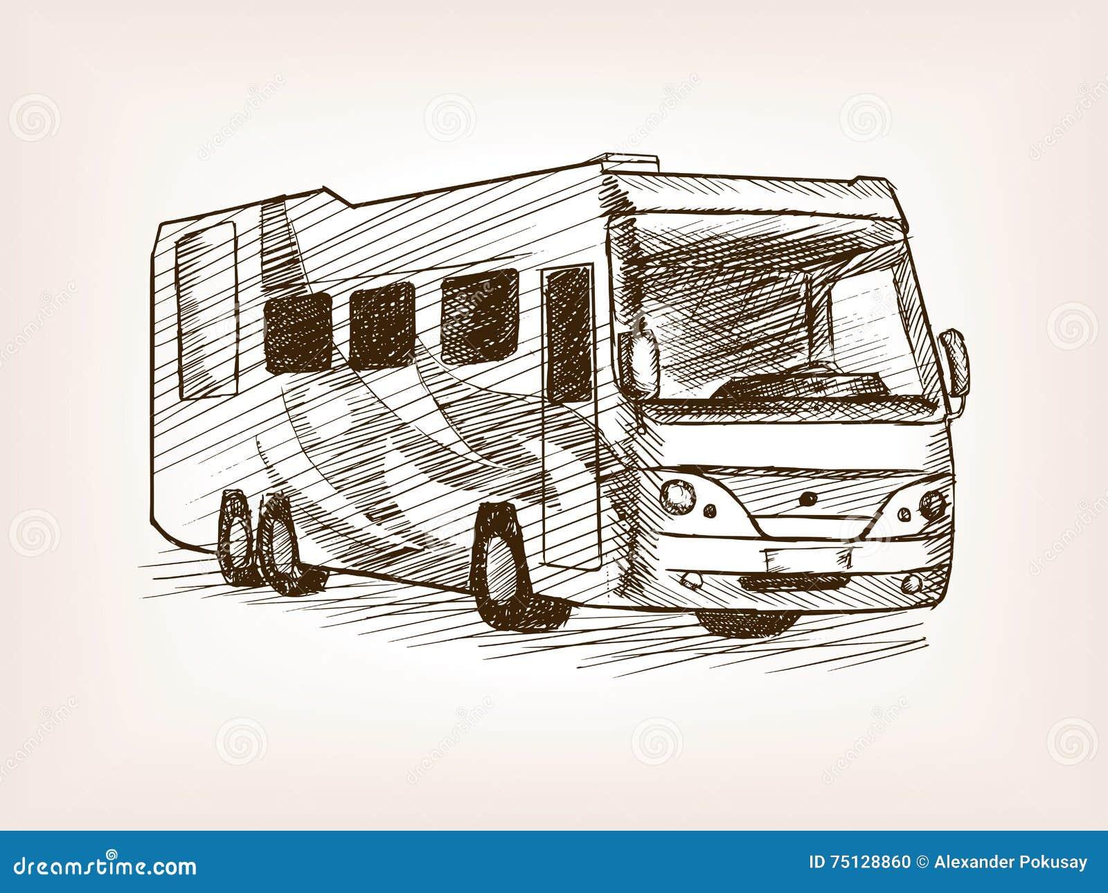 Vettore di schizzo di trasporto del bus della casa mobile for Schizzo di piani di casa gratuiti