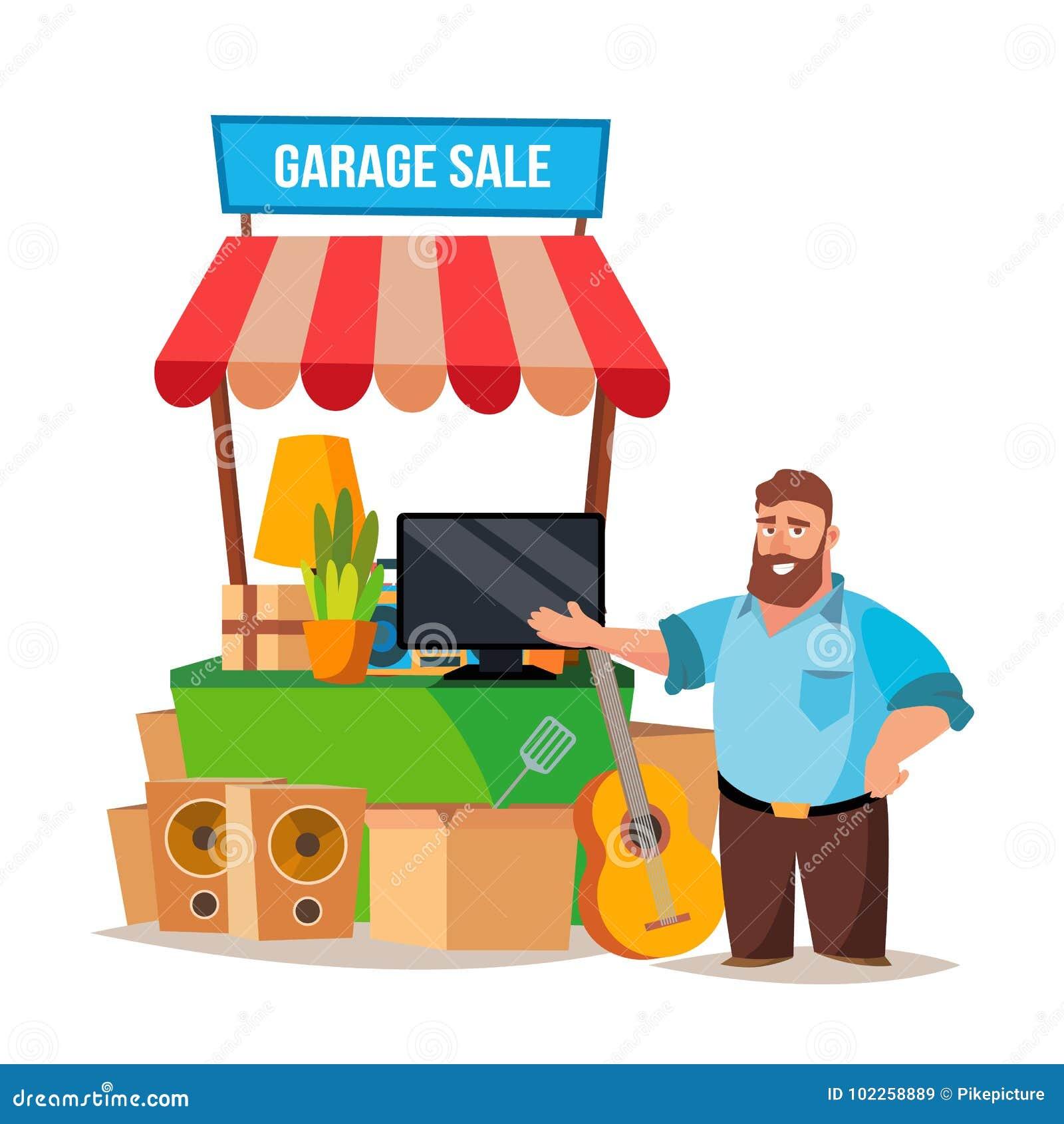 Vettore di vendita di oggetti usati uomo che ha una for Oggetti usati gratis