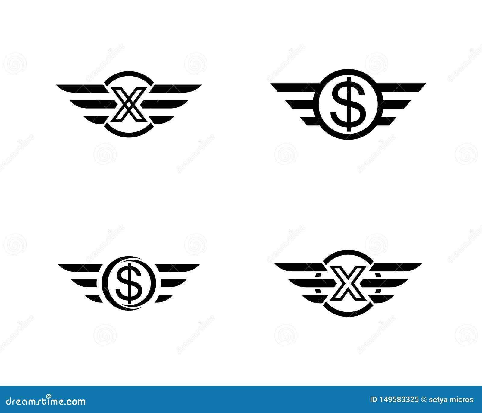 Vettore di Wing Logo Template del falco