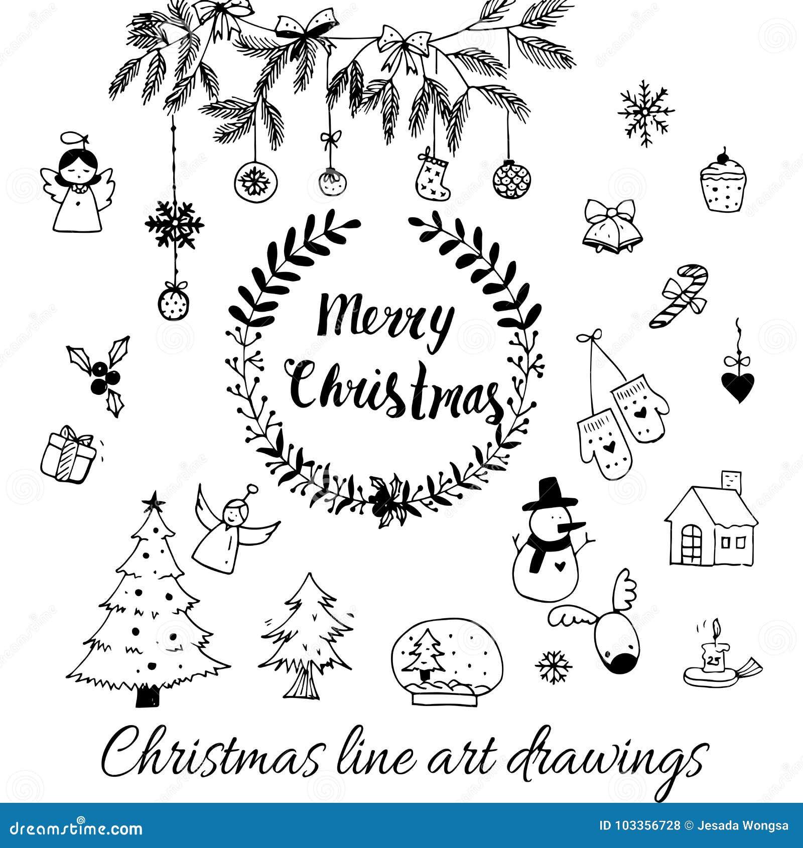Disegni Di Natale Vettoriali.Vettore Disegnato A Mano Di Scarabocchio Linea Disegni Di Natale Di