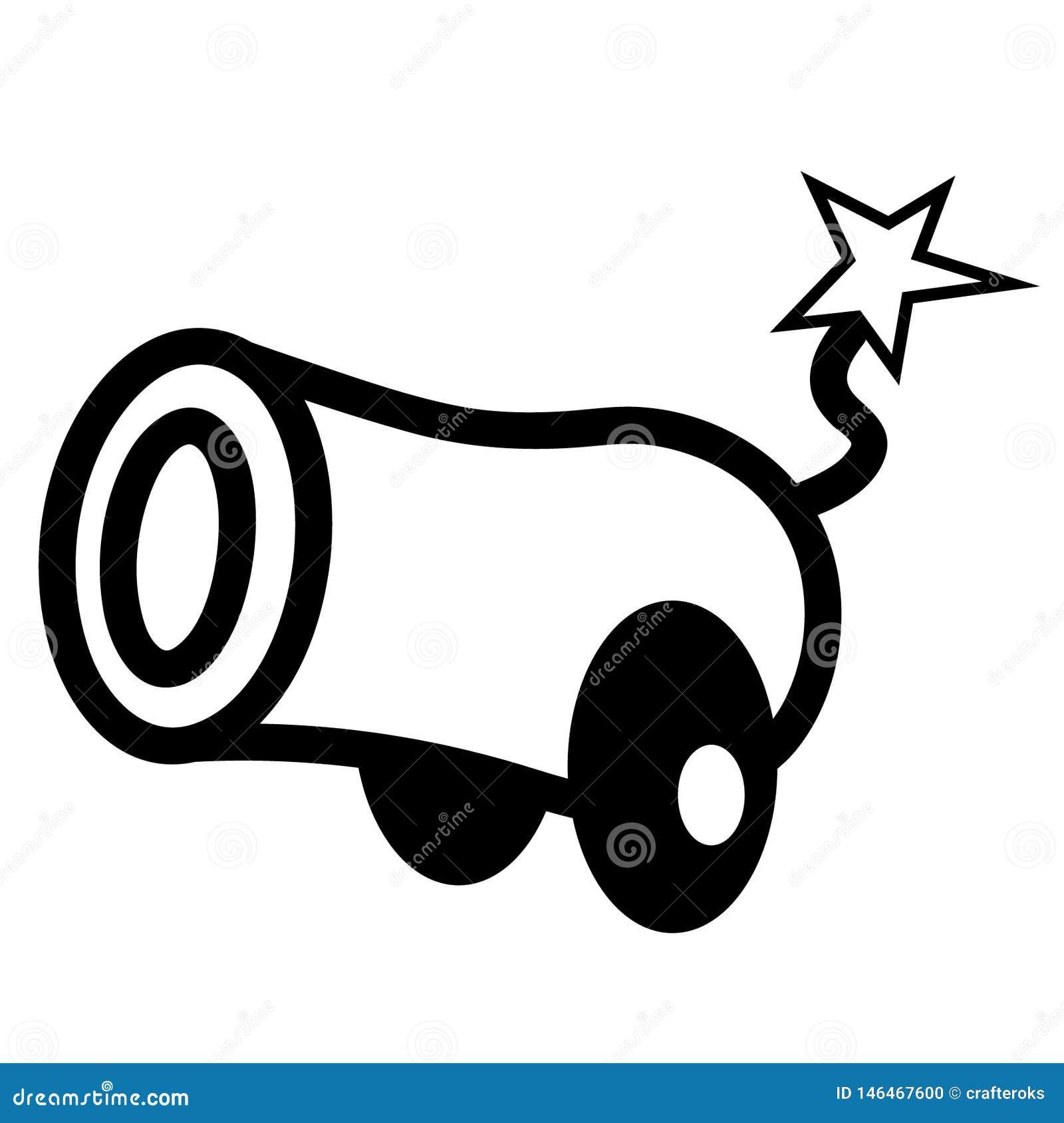 Vettore ENV disegnato a mano, vettore, ENV, logo, icona, crafteroks, illustrazione del cannone della siluetta per gli usi differe