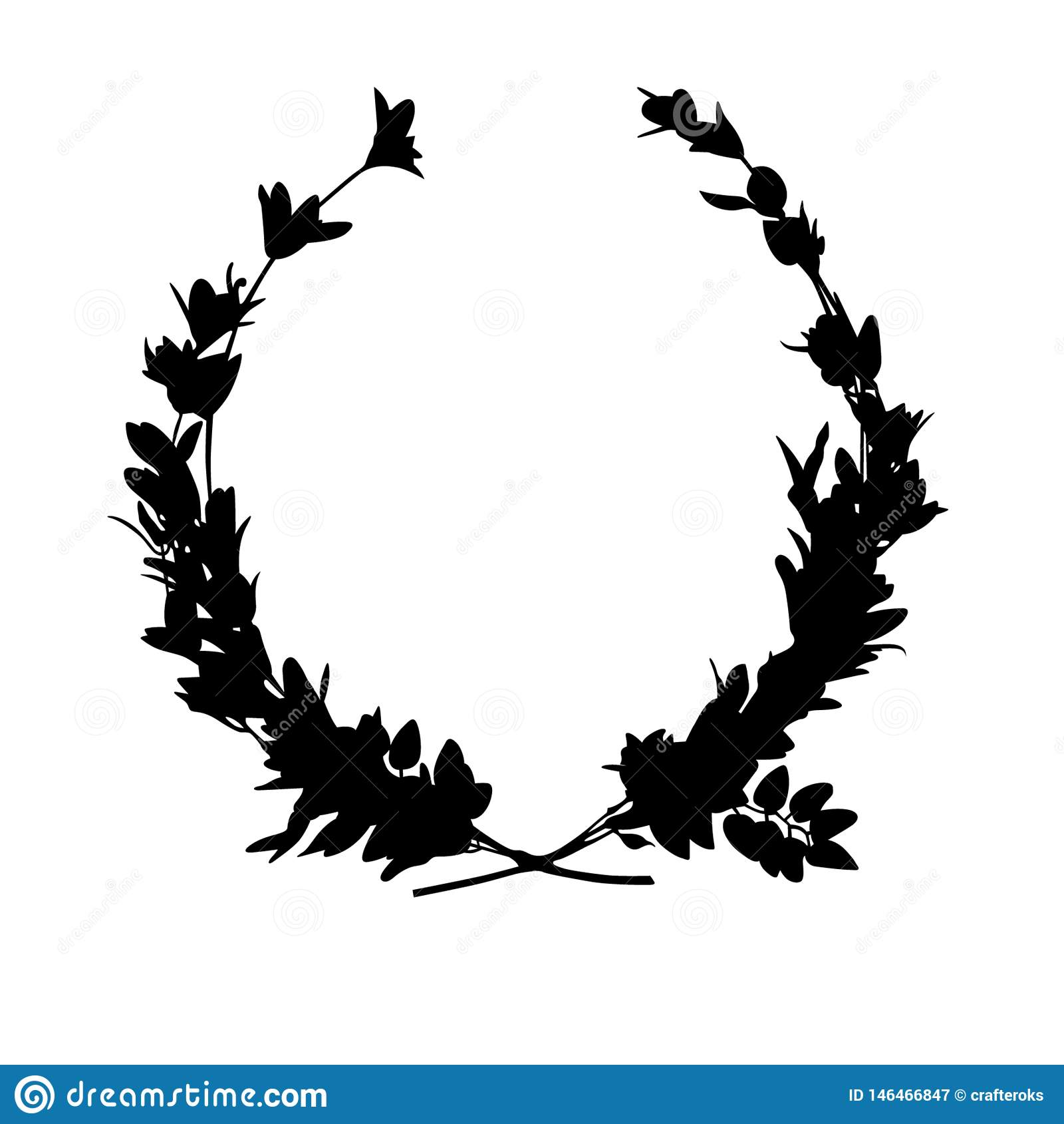 Vettore ENV disegnato a mano, vettore, ENV, logo, icona, crafteroks, illustrazione della corona dell alloro della siluetta per gl