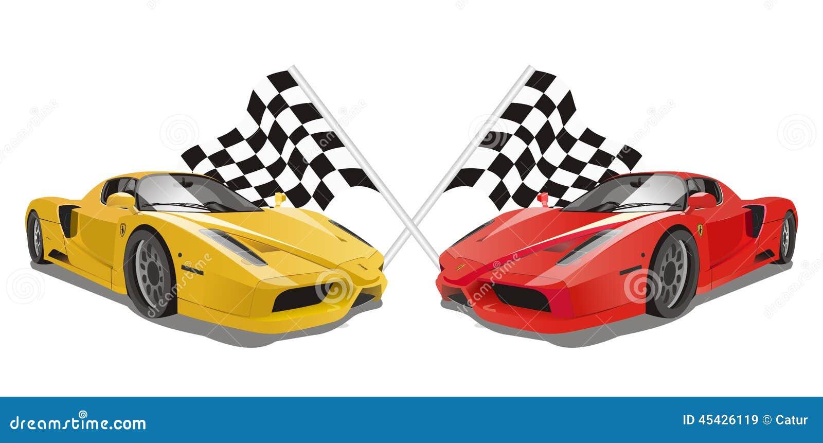 Vettore Ferrari Enzo Con Le Bandiere Come Fondo ...