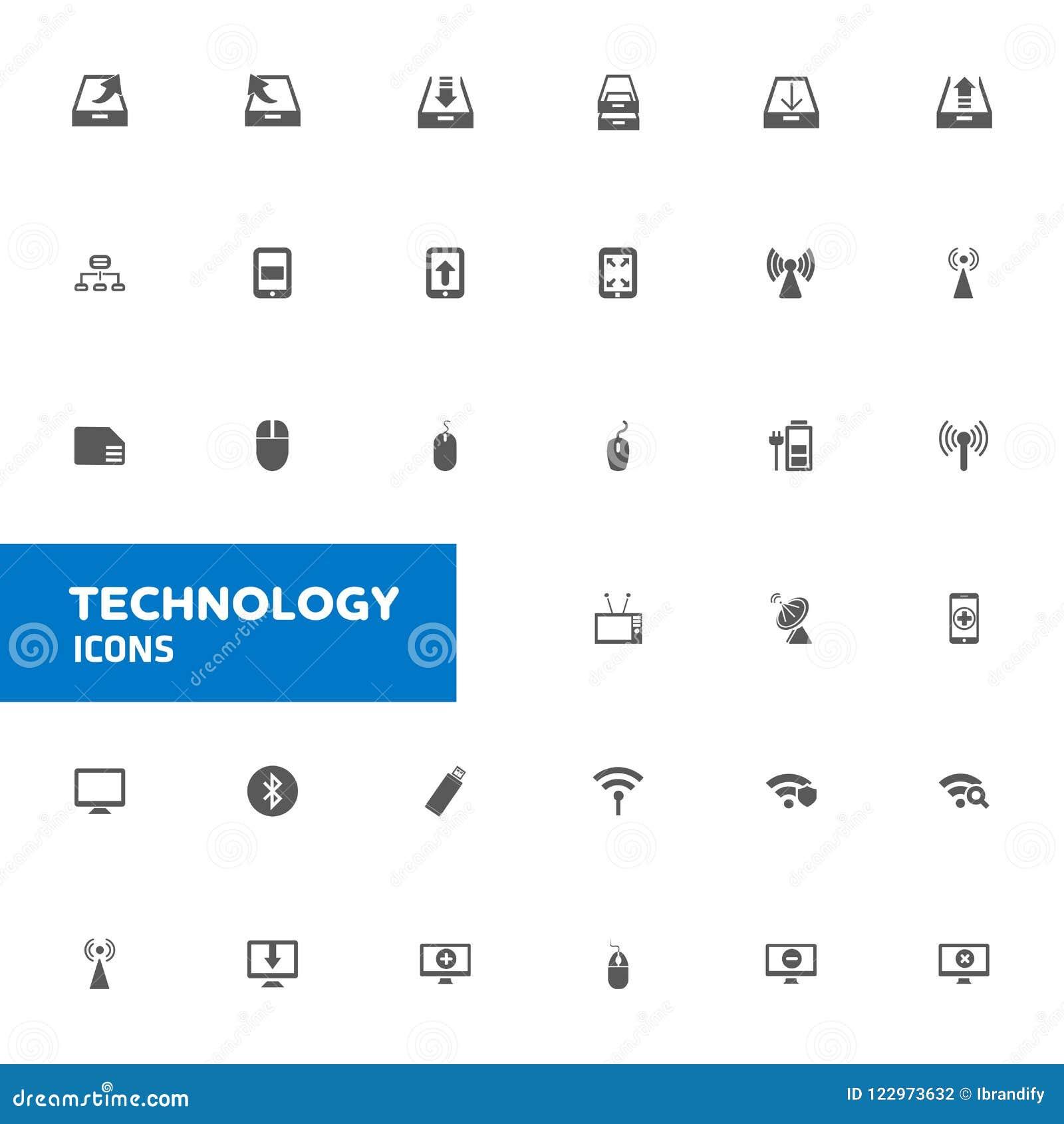 Vettore fissato icone di tecnologia