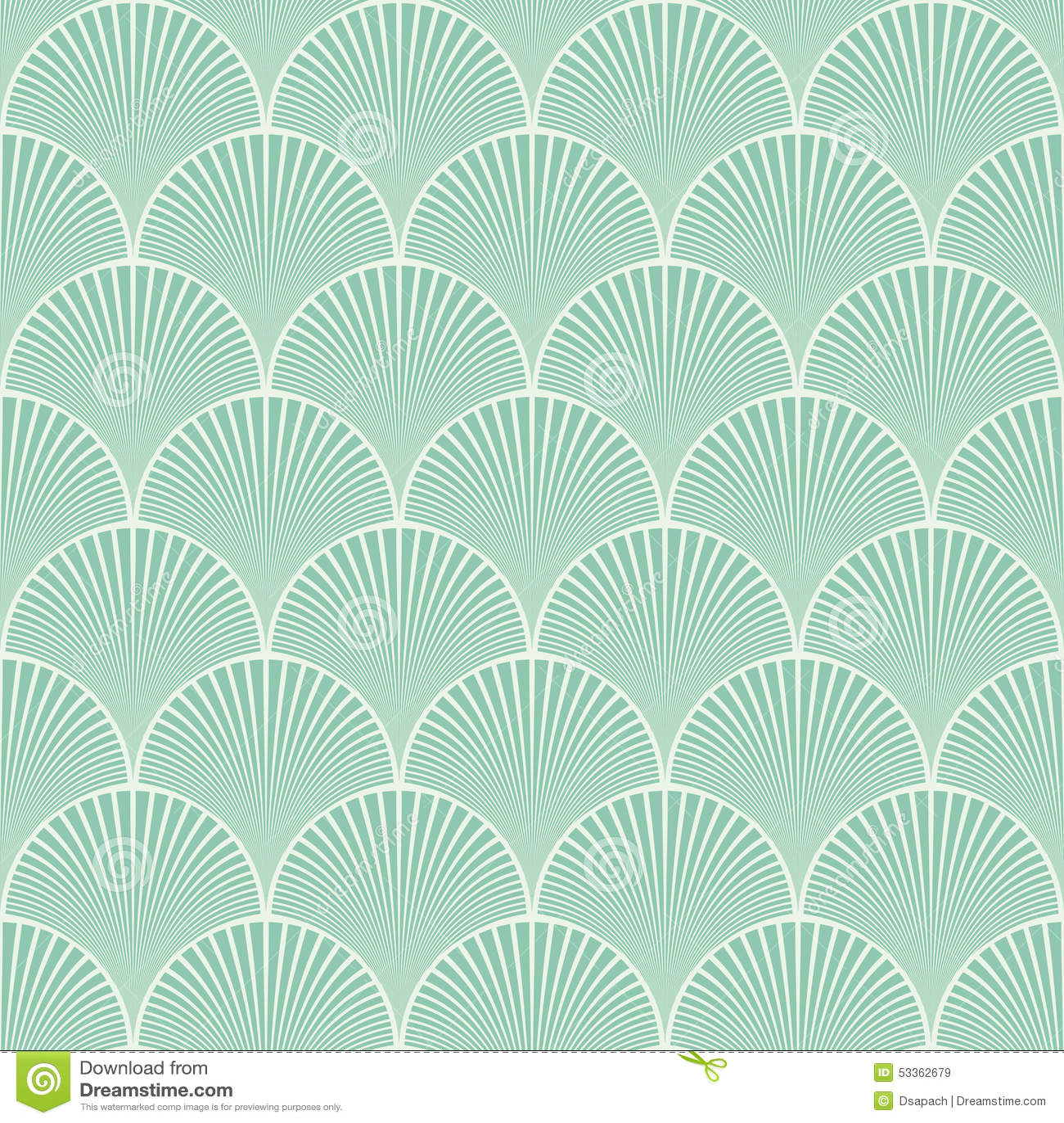 Vettore floreale del modello di onde di art deco giapponese senza cuciture del turchese