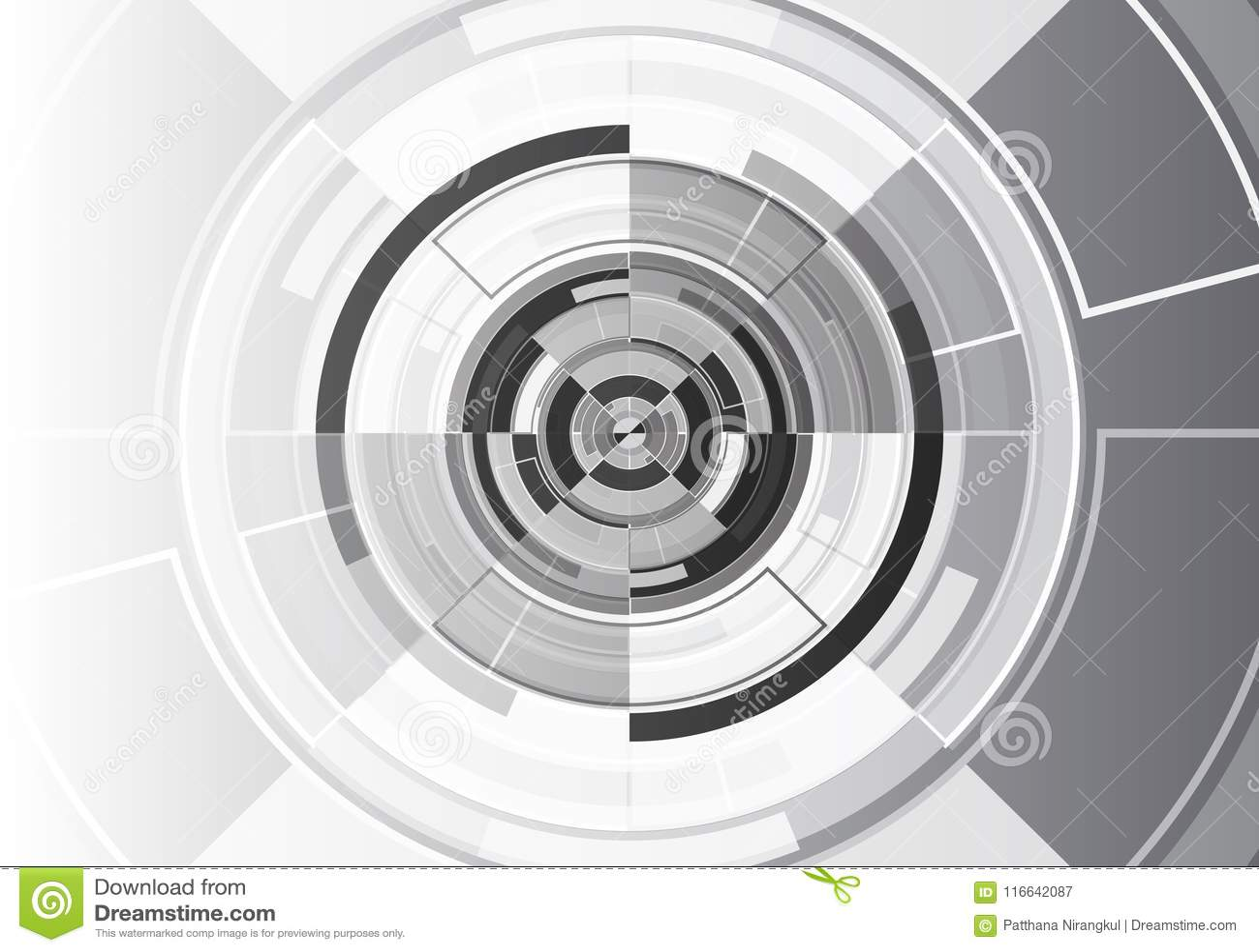 Vettore futuristico moderno del fondo di progettazione bianca nera del cerchio di tecnologia