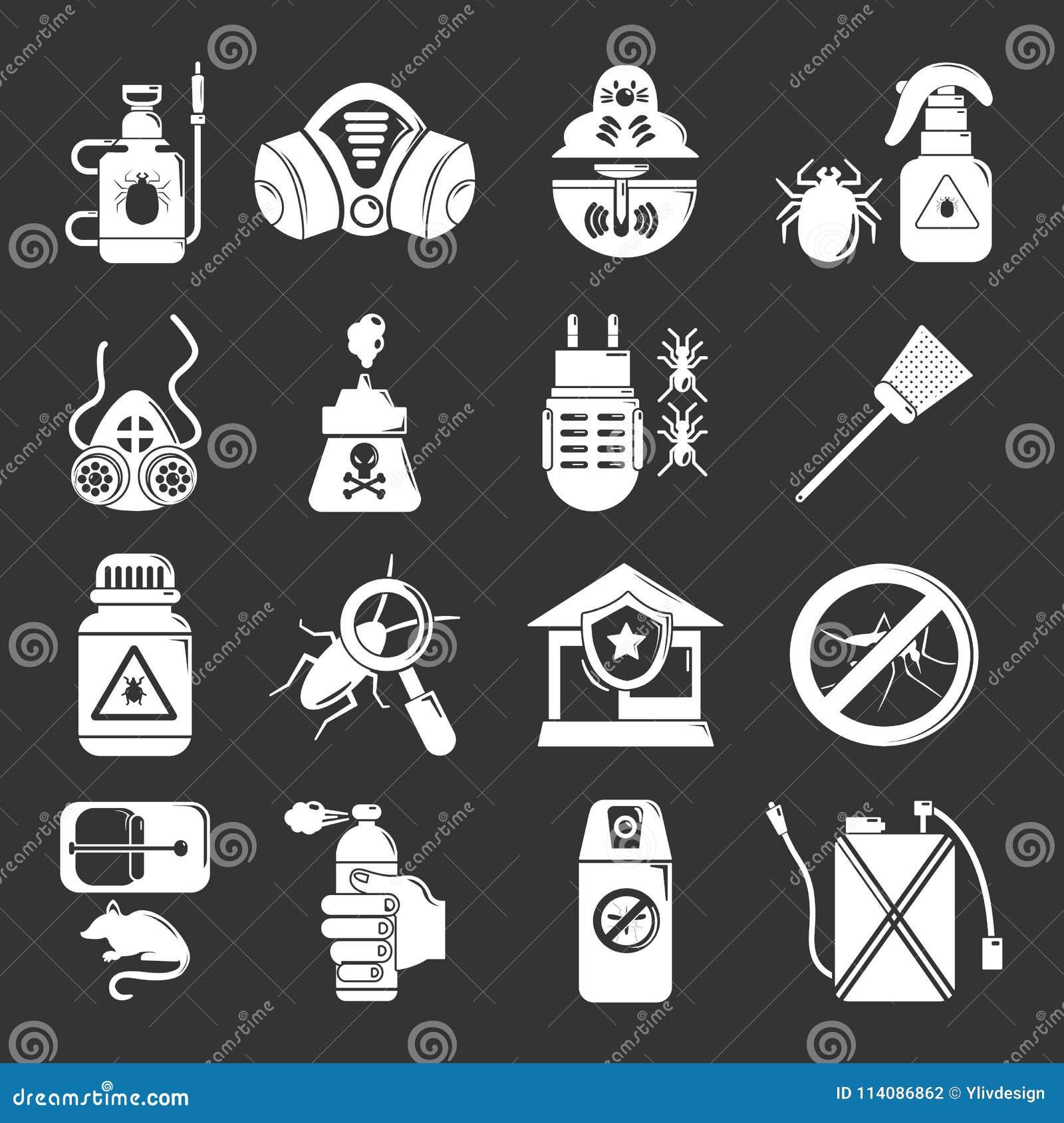 Vettore grigio fissato icone degli strumenti di controllo dei parassiti
