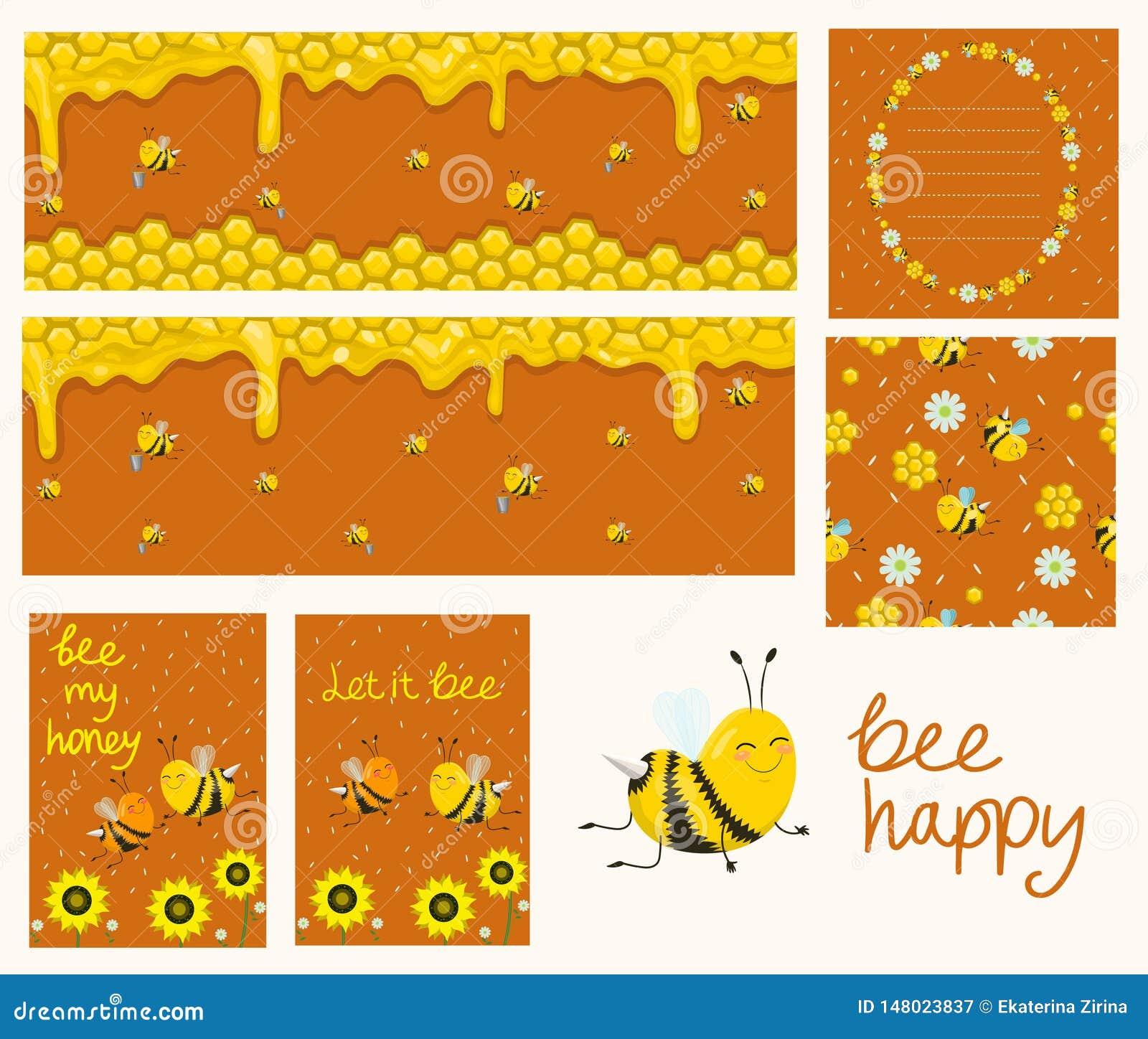 Vettore Honey Banners Illustrazioni del fumetto Favi, api, fiori Raccolta delle carte, insegne, aletta di filatoio, modello senza