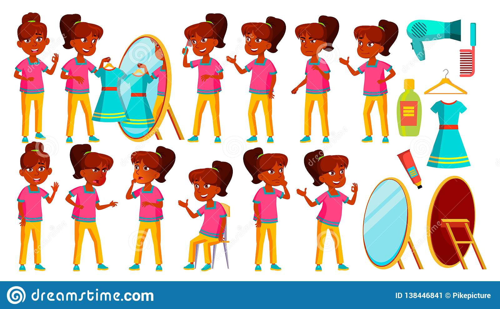 Vettore indiano dell insieme della ragazza Bambino Studio dei bambini La conoscenza, impara, lezione Per la presentazione, stampa