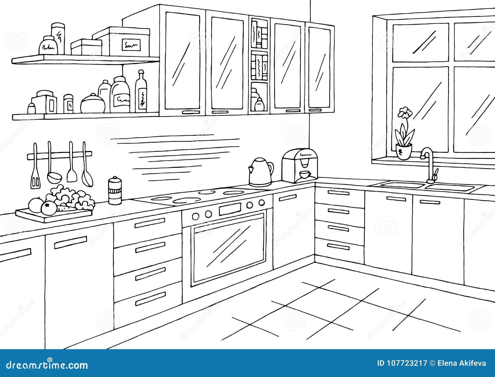 vettore interno bianco nero grafico dell'illustrazione di schizzo