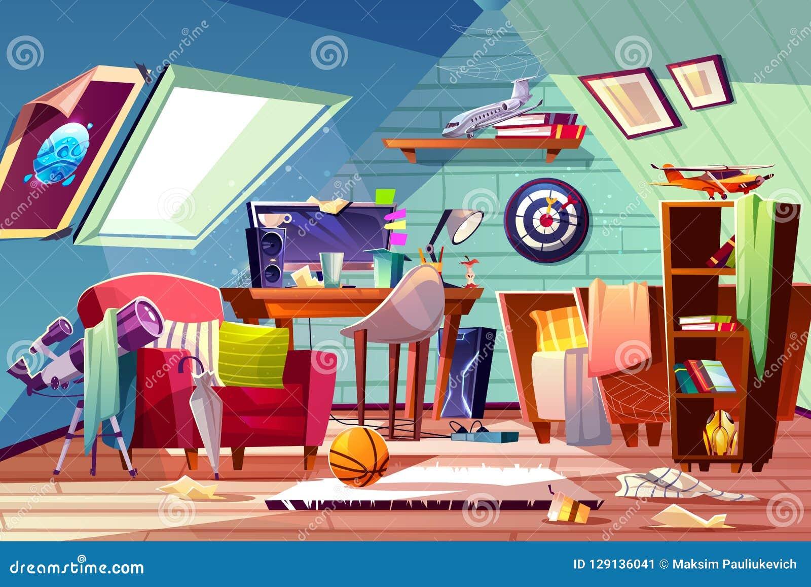 Vettore interno del fumetto del ragazzo della stanza sudicia teenager della soffitta