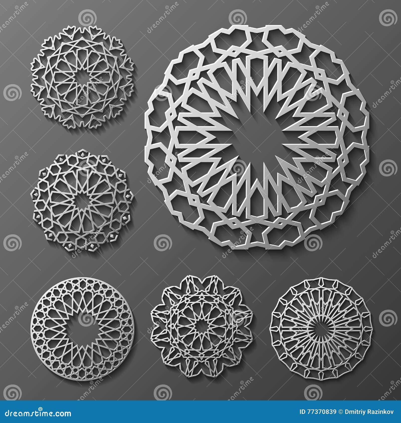 Vettore islamico dell ornamento, motiff persiano elementi rotondi del modello di 3d il Ramadan Insieme geometrico del modello di