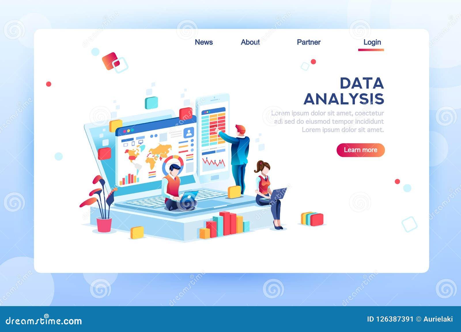 Vettore isometrico di concetto del motore di analisi dei dati