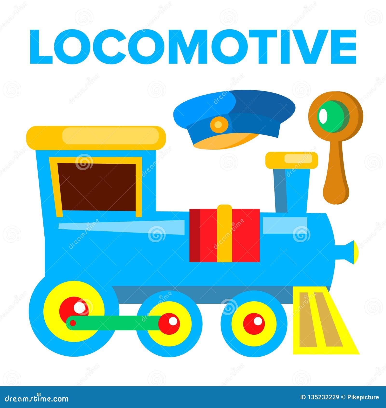 Vettore locomotivo Giocattolo dei bambini Ferrovia della strada del treno Illustrazione isolata del fumetto