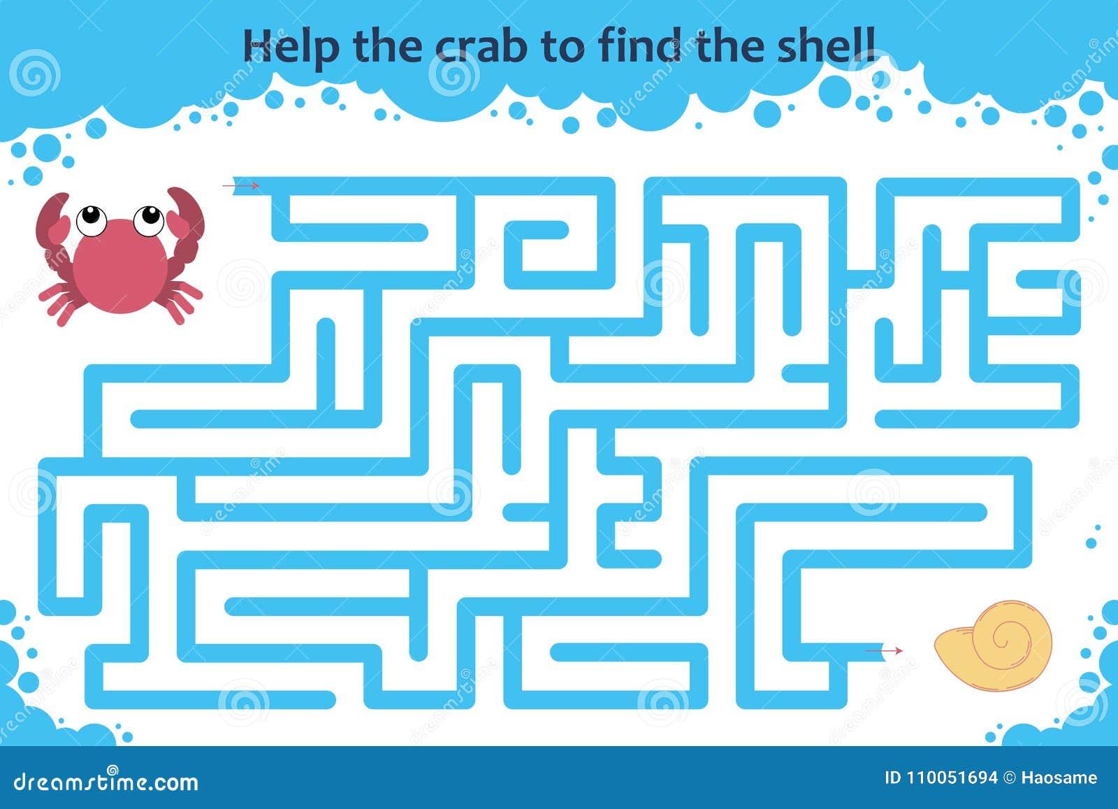 Vettore Maze Game Aiuti il granchio a trovare le coperture